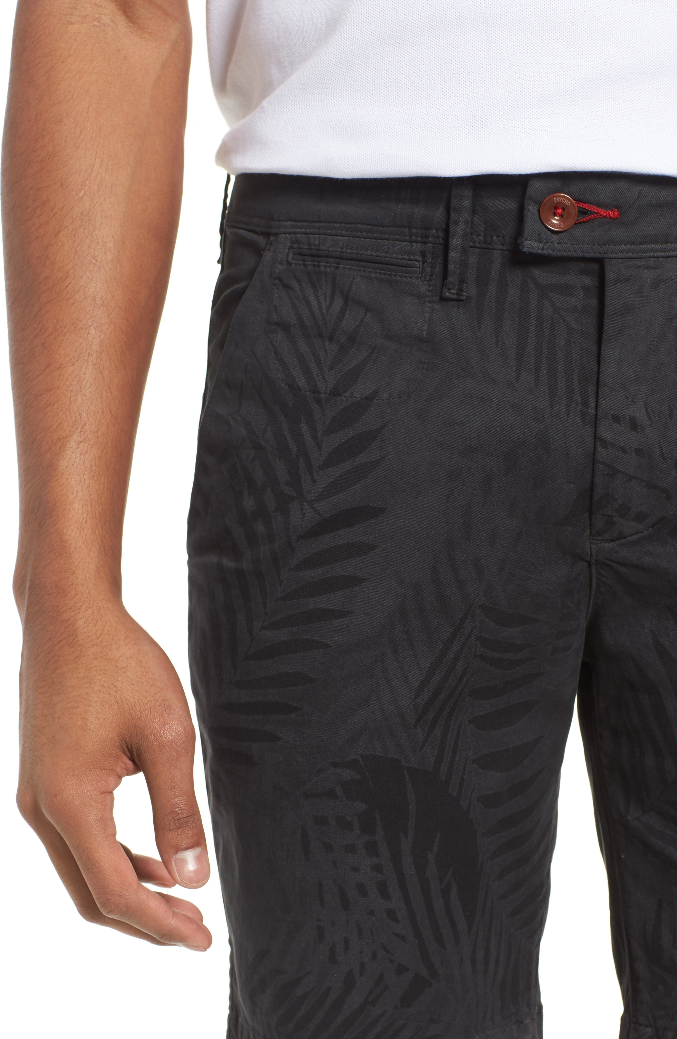 Psycho Bunny Tropical Shorts,                             Alternate thumbnail 4, color,                             Black