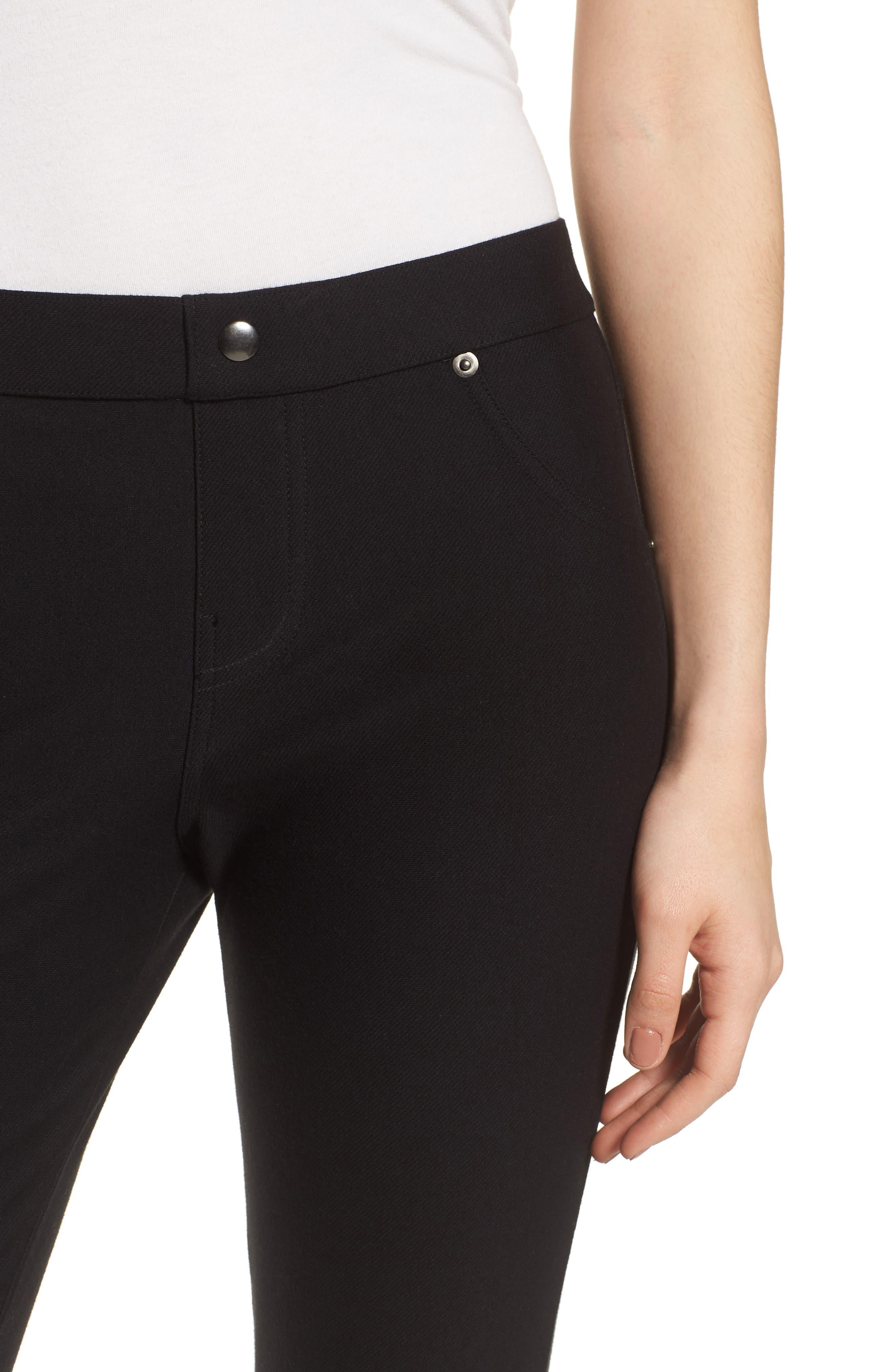 Basic Denim Leggings,                             Alternate thumbnail 4, color,                             Black