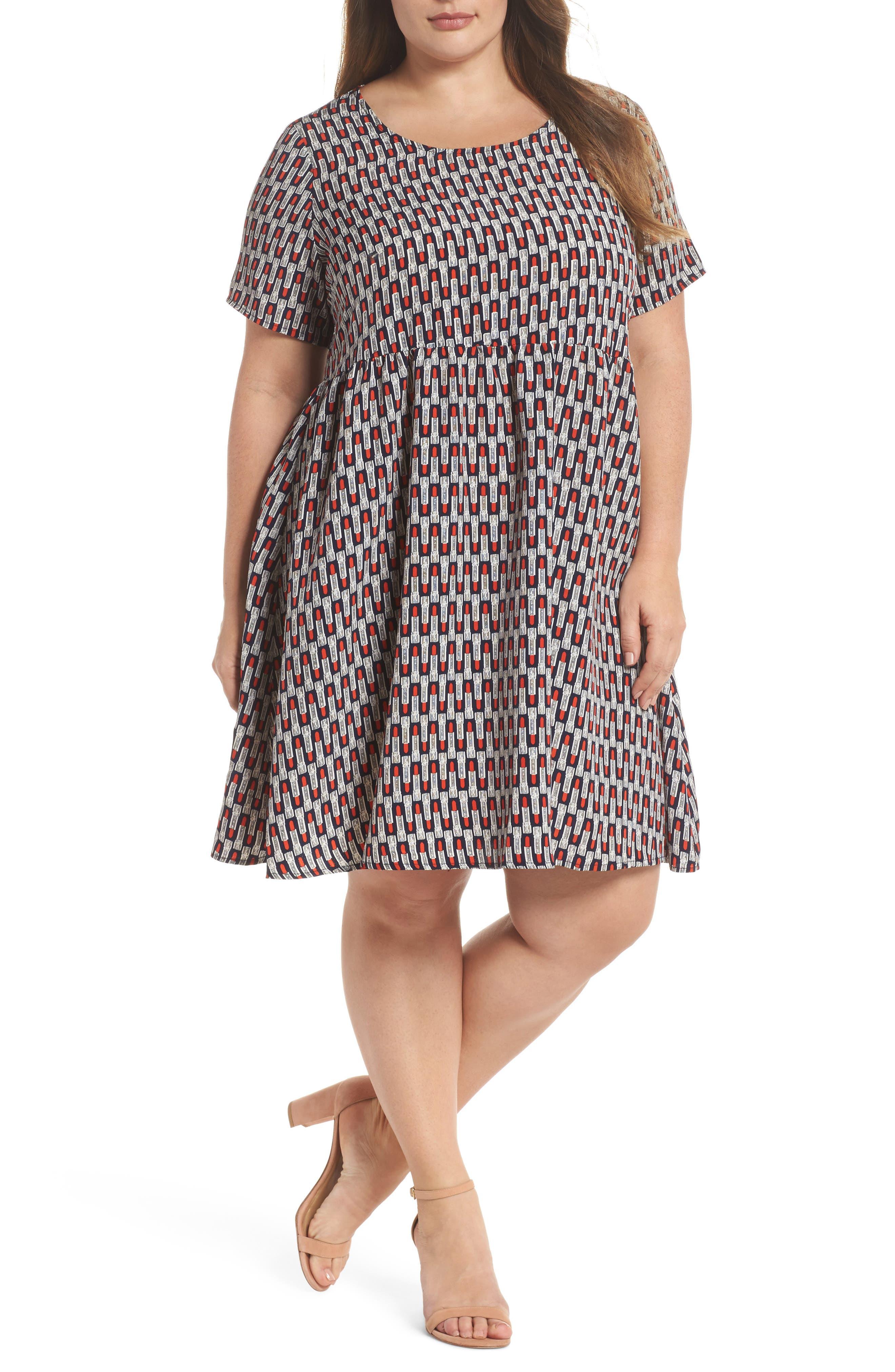 Lipstick Print Fit & Flare Dress,                         Main,                         color, Navy Lipstick