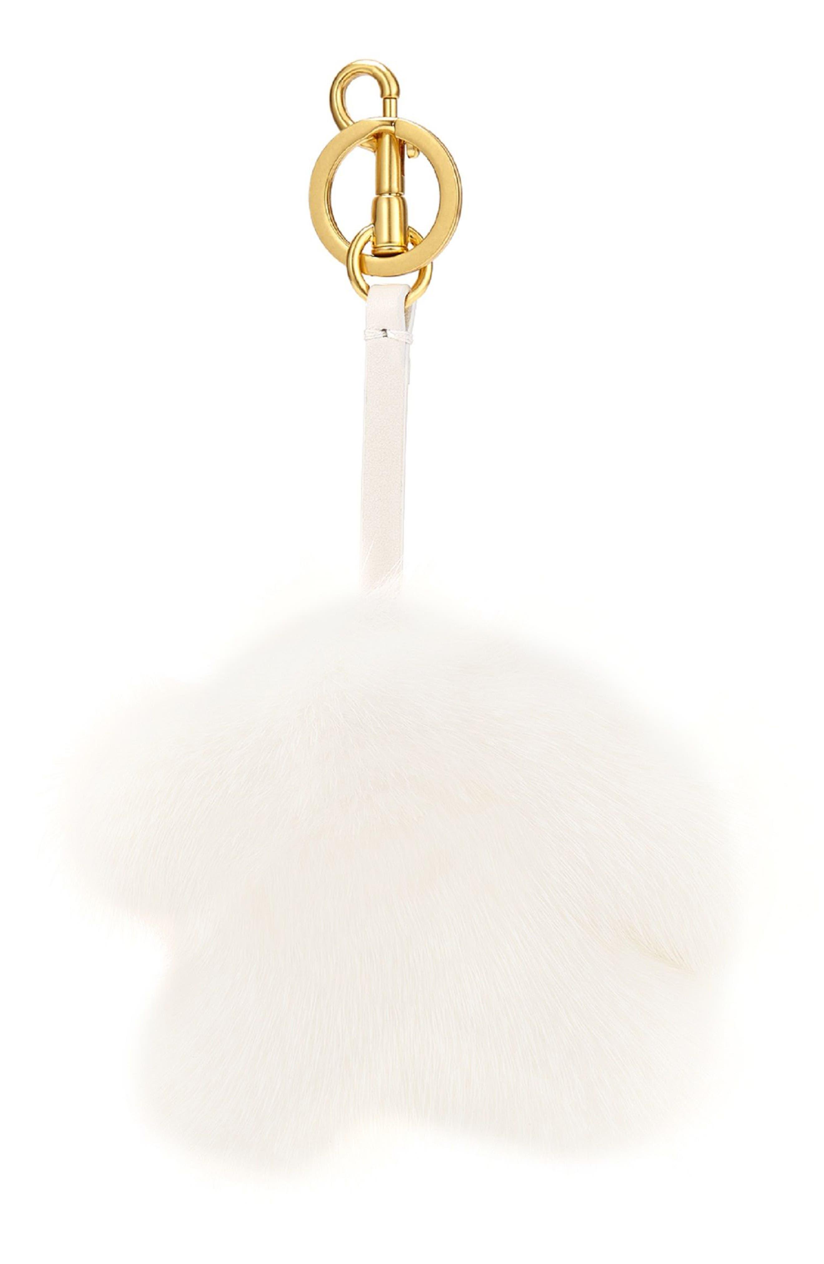 Build a Bag Genuine Mink Fur Tassel Bag Charm,                             Alternate thumbnail 3, color,                             White