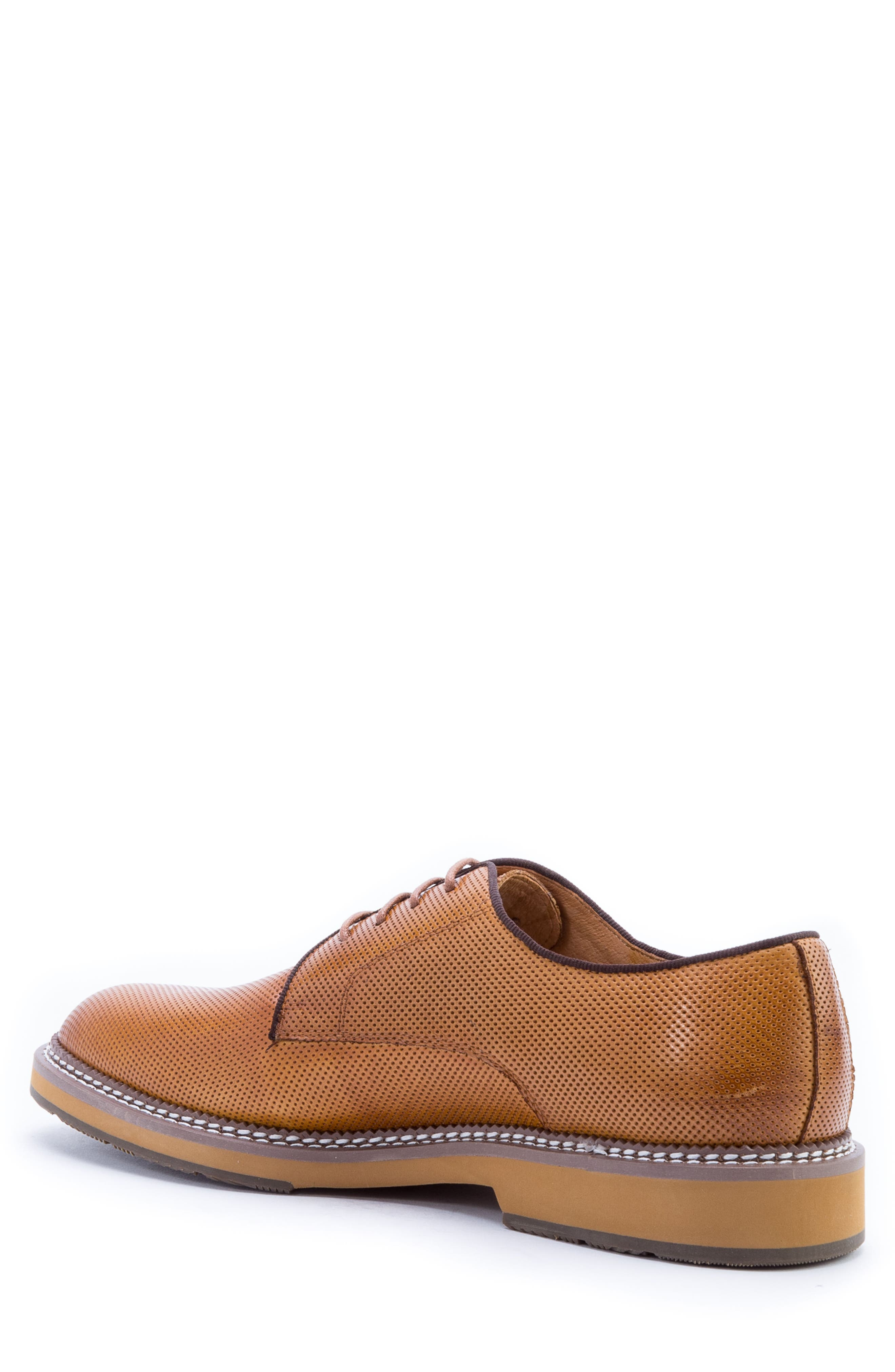 Monticello Perforated Plain Toe Derby,                             Alternate thumbnail 2, color,                             Cognac Leather