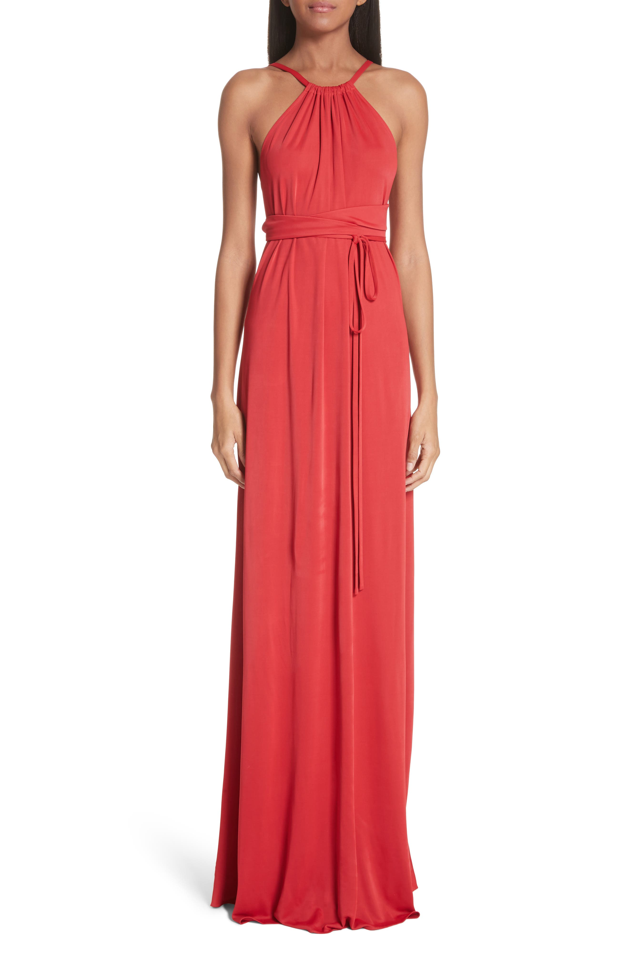 Back Cutout Jersey Gown,                         Main,                         color, Red