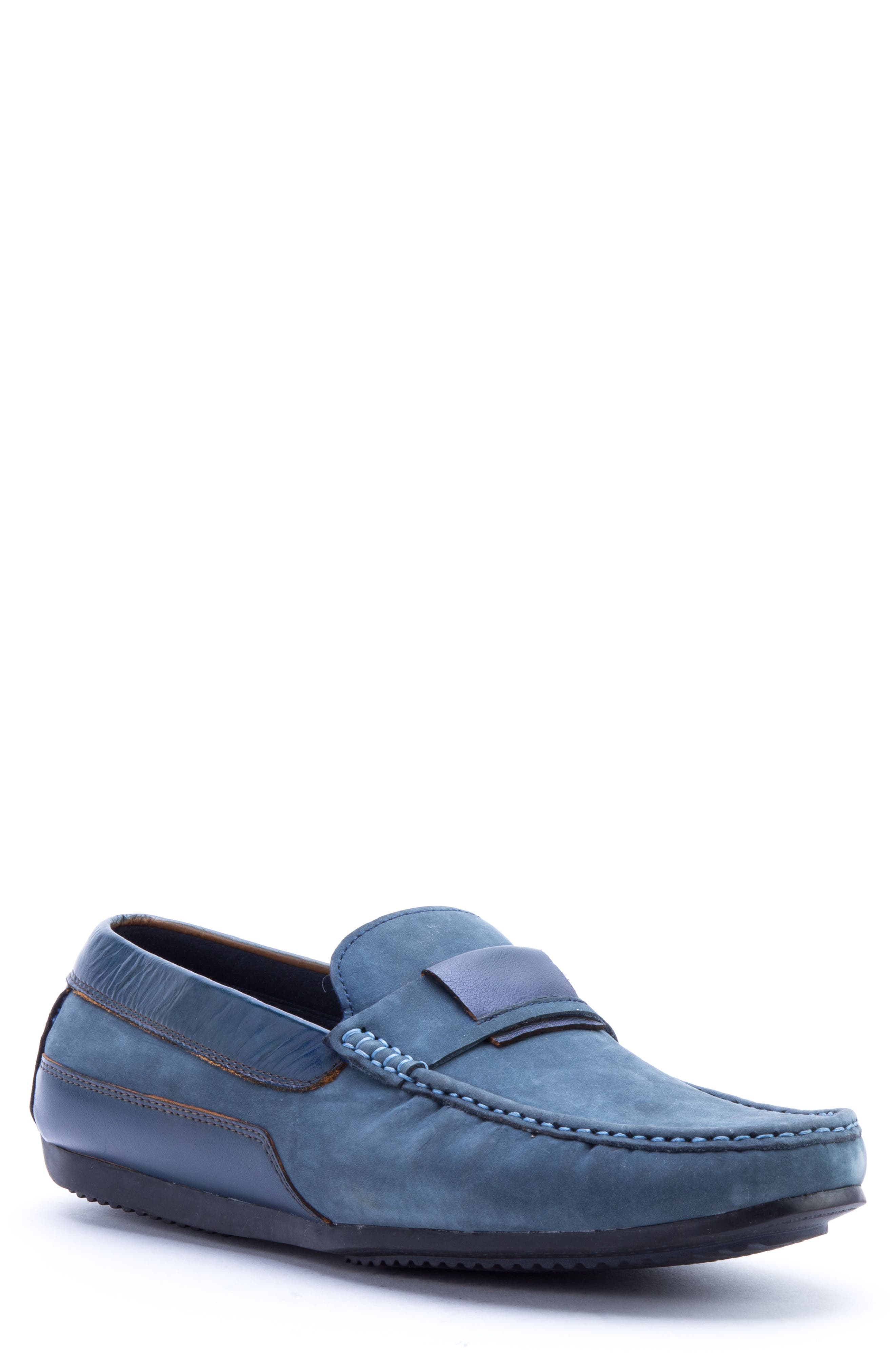 Seurat Driving Loafer,                             Main thumbnail 1, color,                             Blue Suede/ Leather