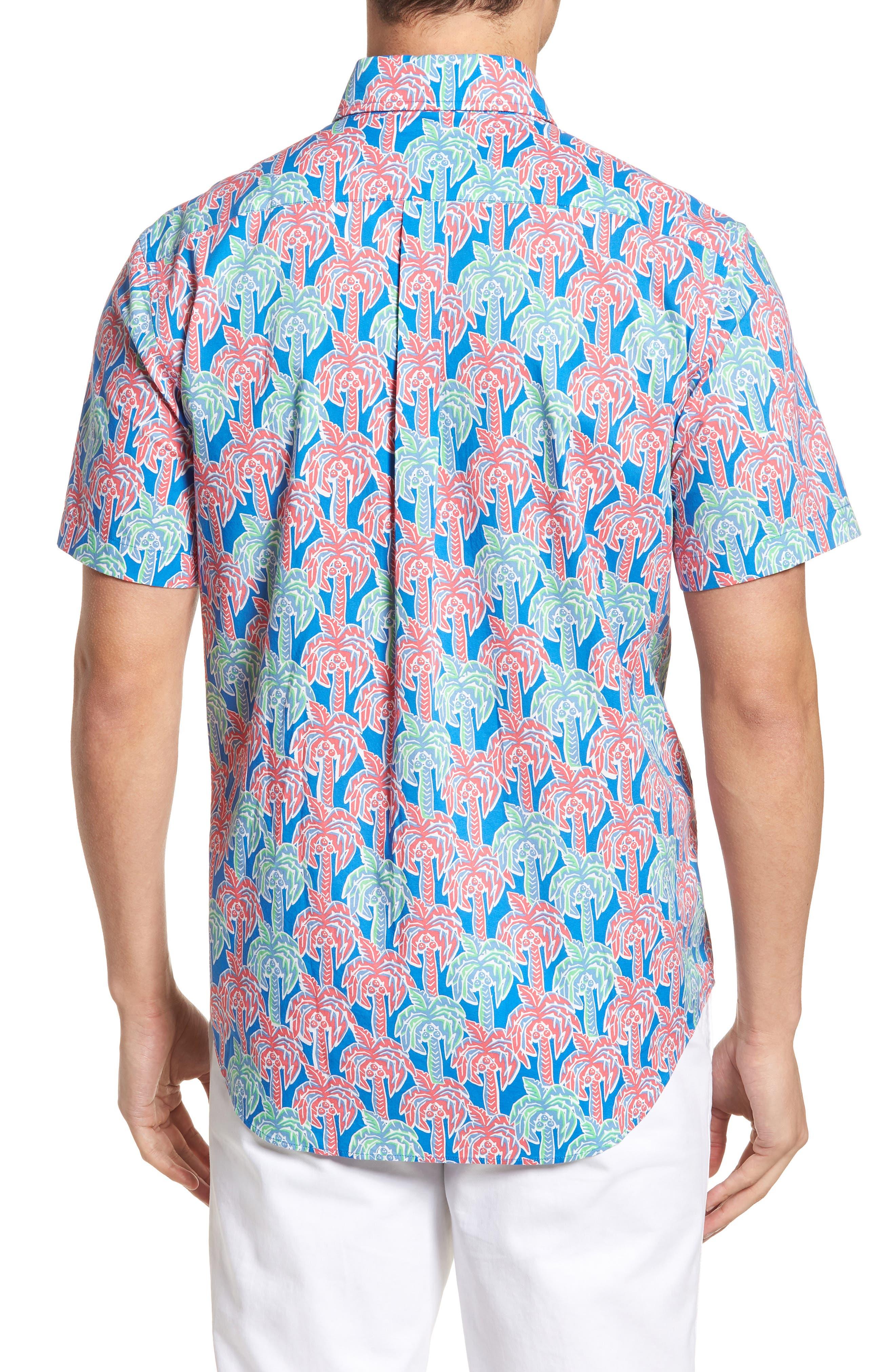 Murray Classic Fit Print Short Sleeve Sport Shirt,                             Alternate thumbnail 2, color,                             Hull Blue