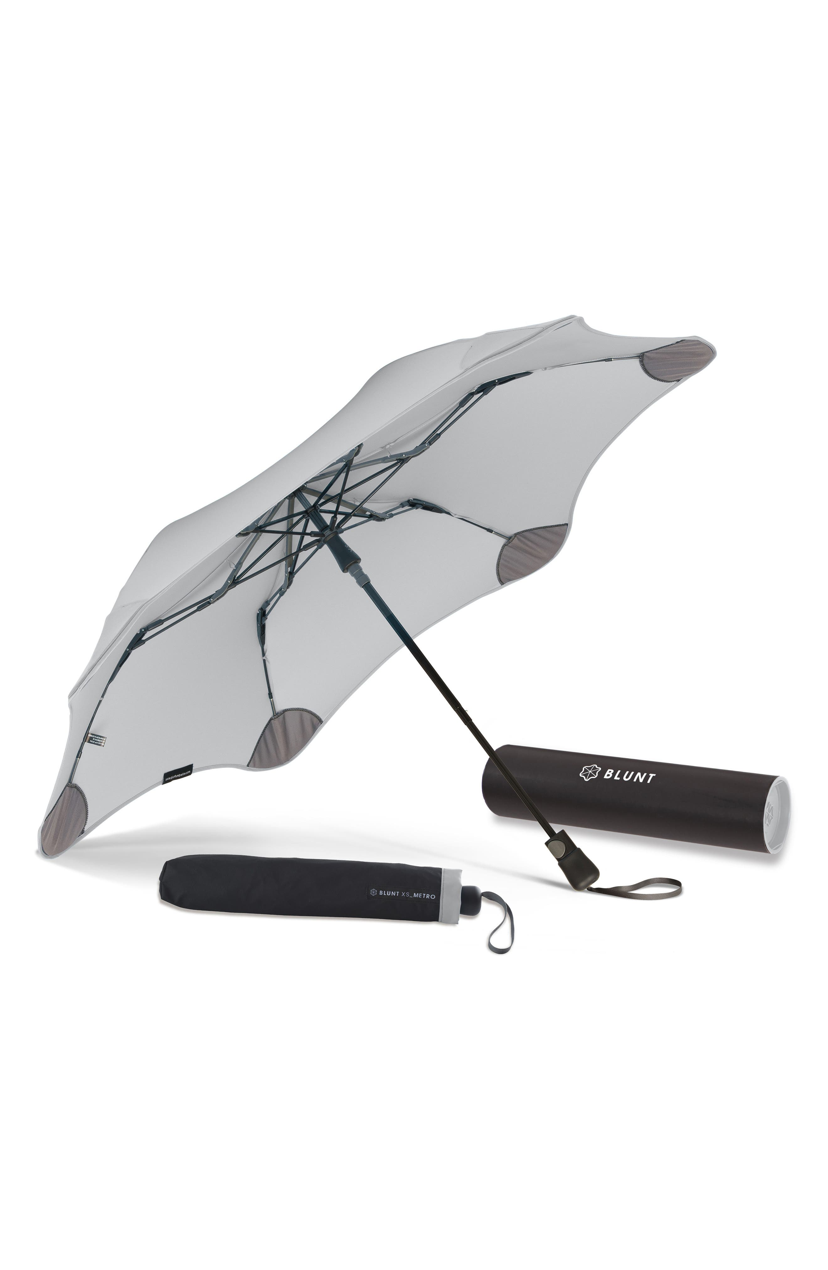 XS Metro Travel Umbrella,                             Alternate thumbnail 4, color,                             Grey