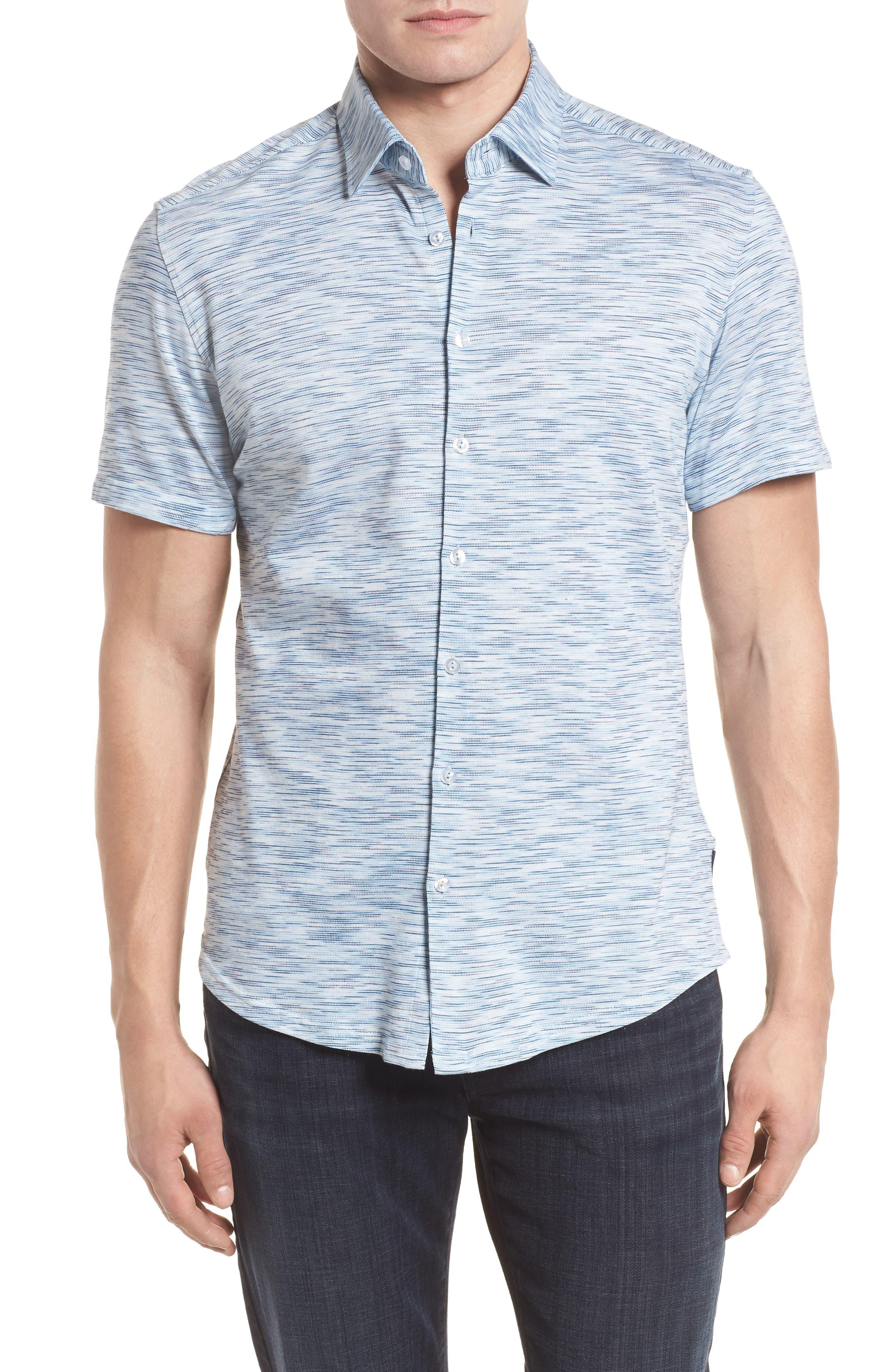Knit Sport Shirt,                         Main,                         color, Blue