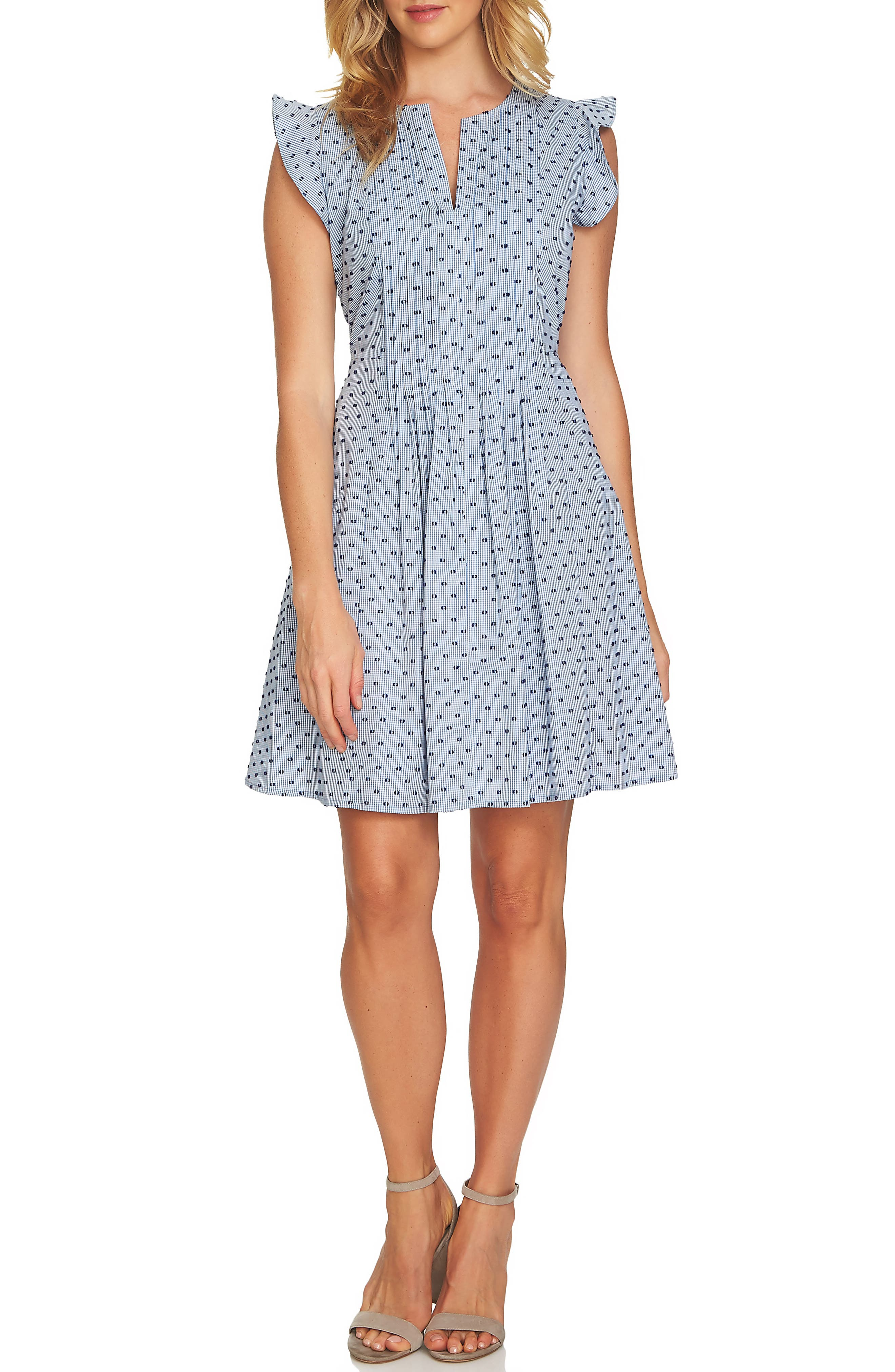 Pintuck Flutter Sleeve Cotton Minidress,                         Main,                         color, Bluebird