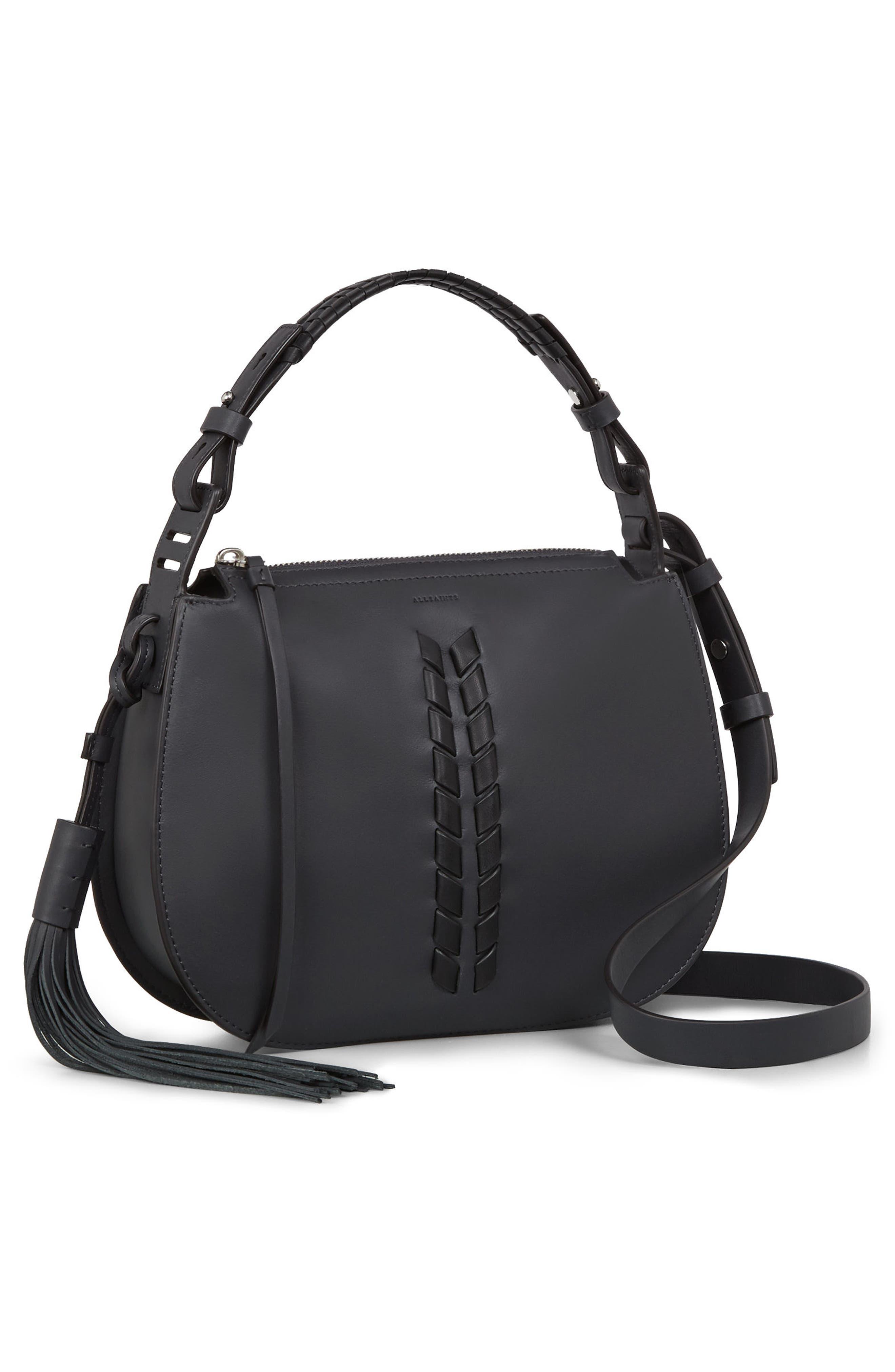 Kepi Leather Crossbody Bag,                             Alternate thumbnail 6, color,                             Navy Black