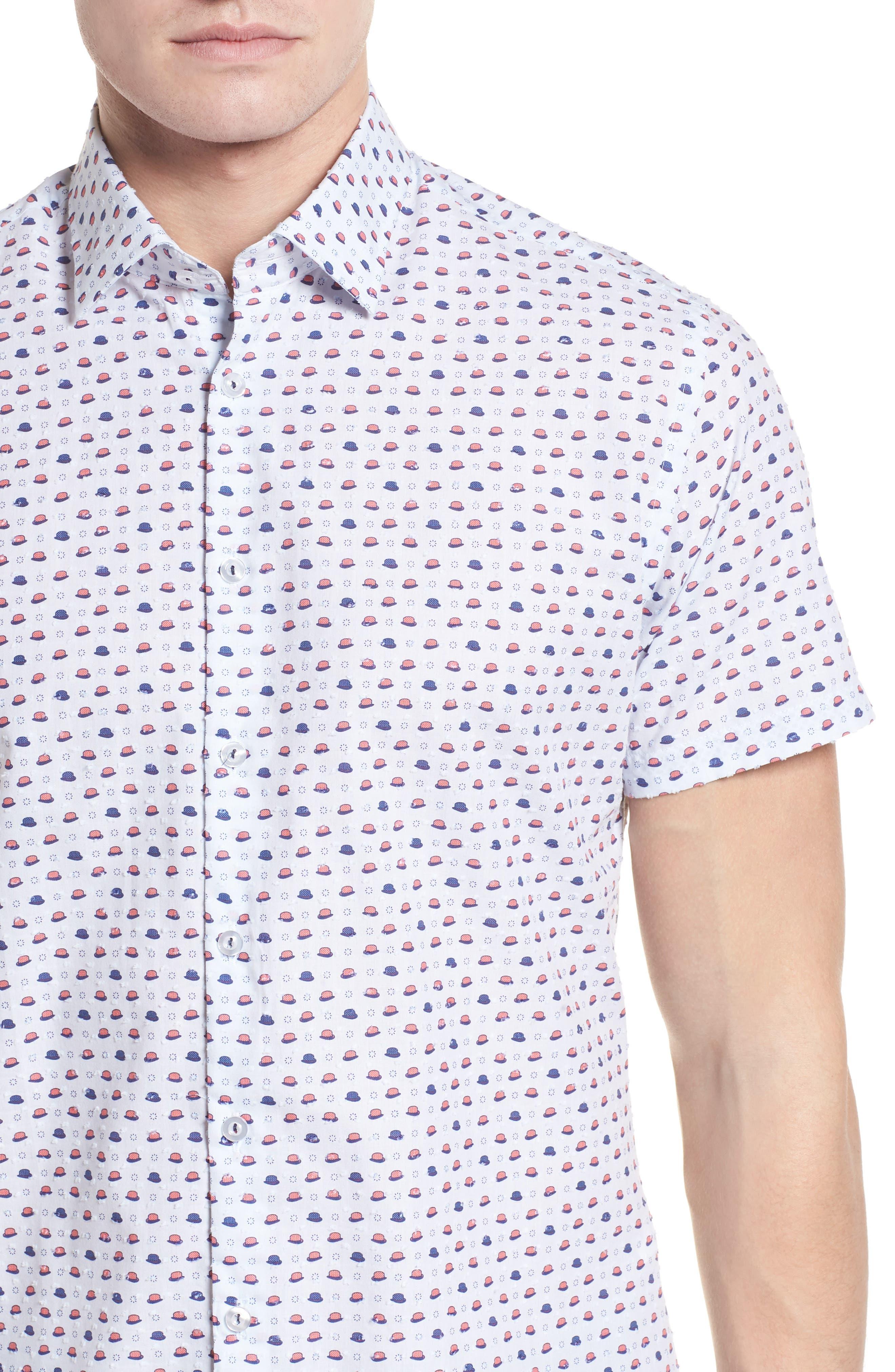 Contemporary Fit Bowler Hat Print Sport Shirt,                             Alternate thumbnail 4, color,                             White