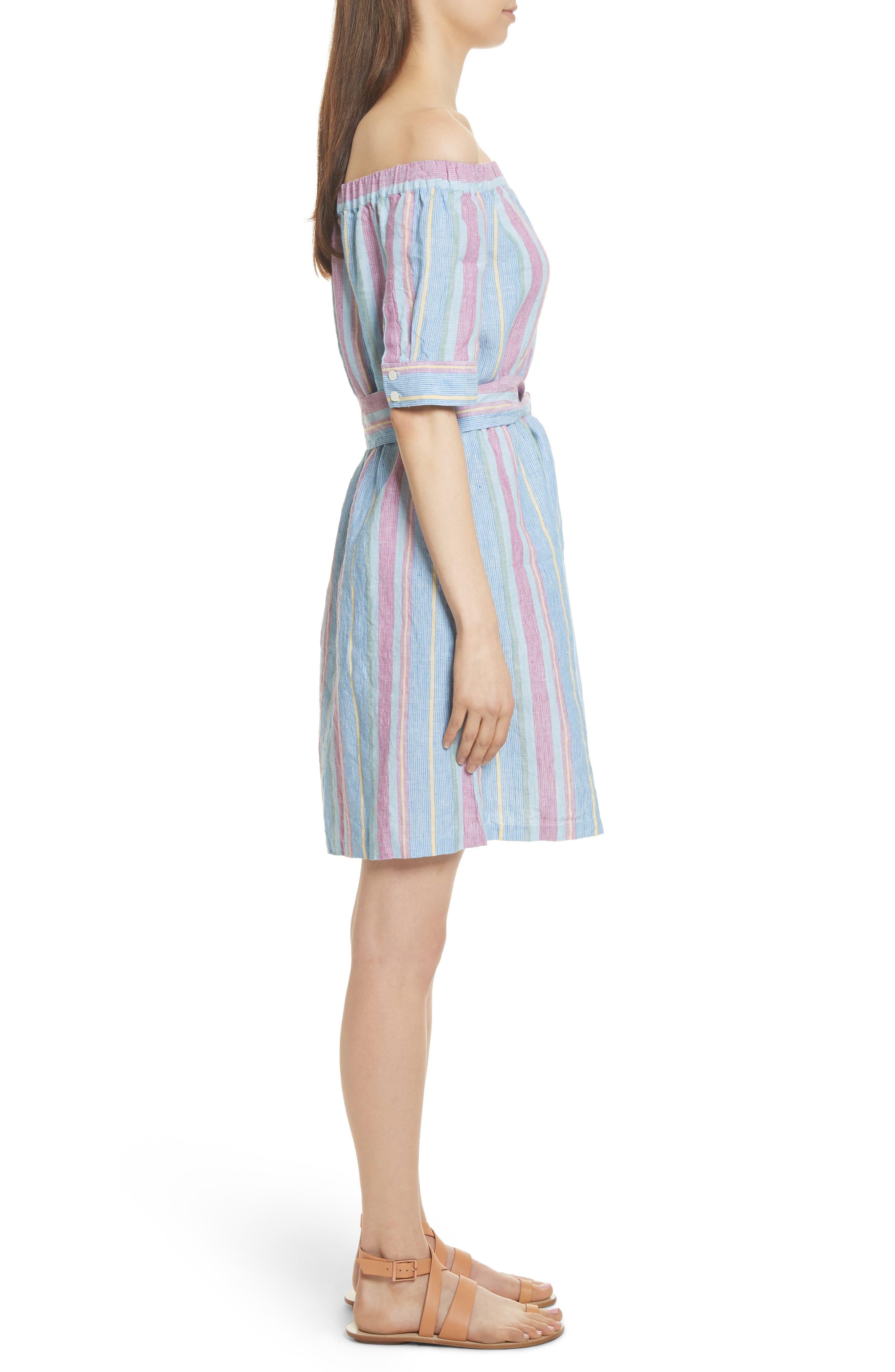 Stripe Off the Shoulder Linen Dress,                             Alternate thumbnail 3, color,                             Purple Multi