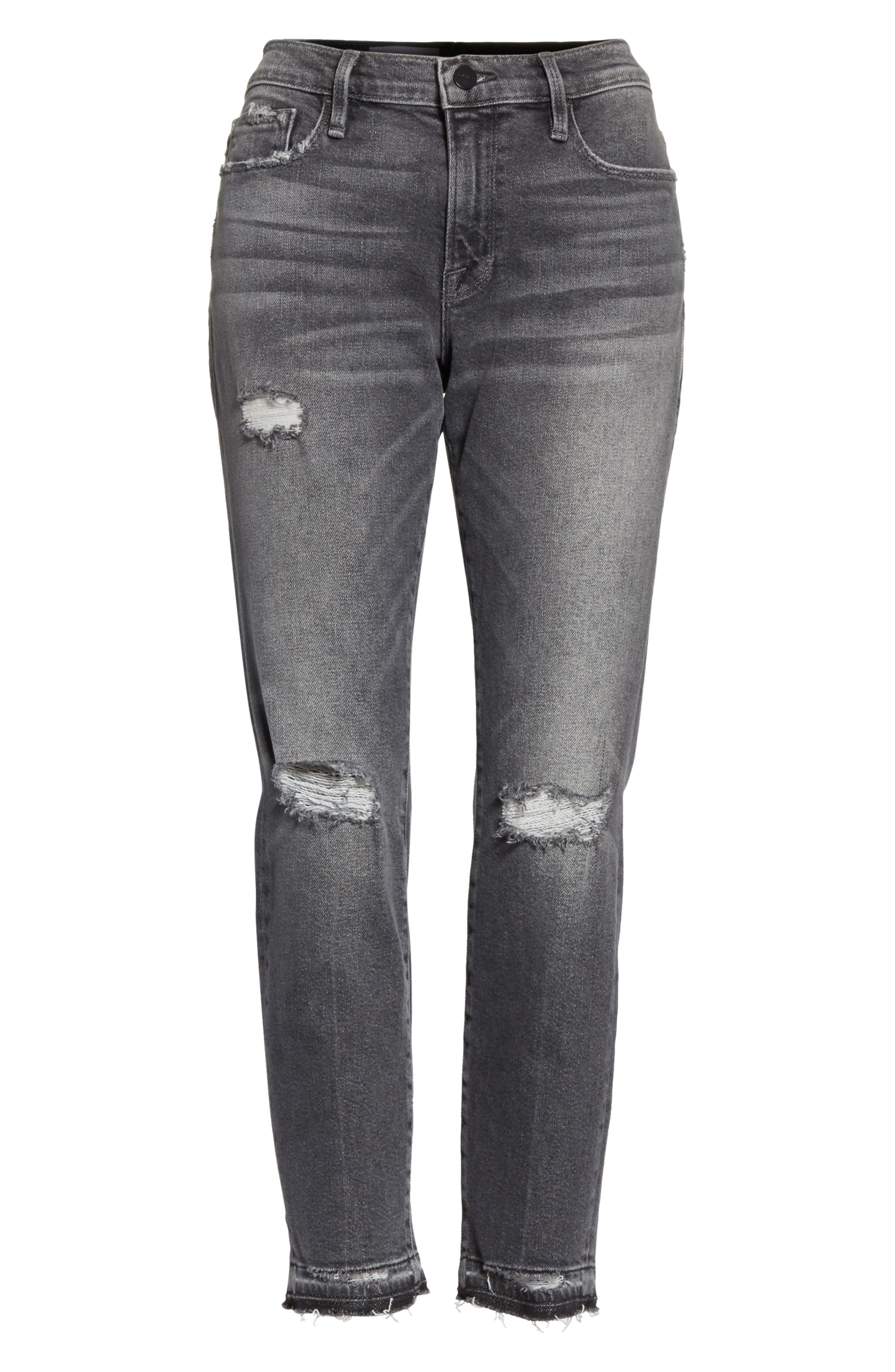 Alternate Image 7  - FRAME Le Garçon Ripped Released Hem Slim Jeans (Stockcross)