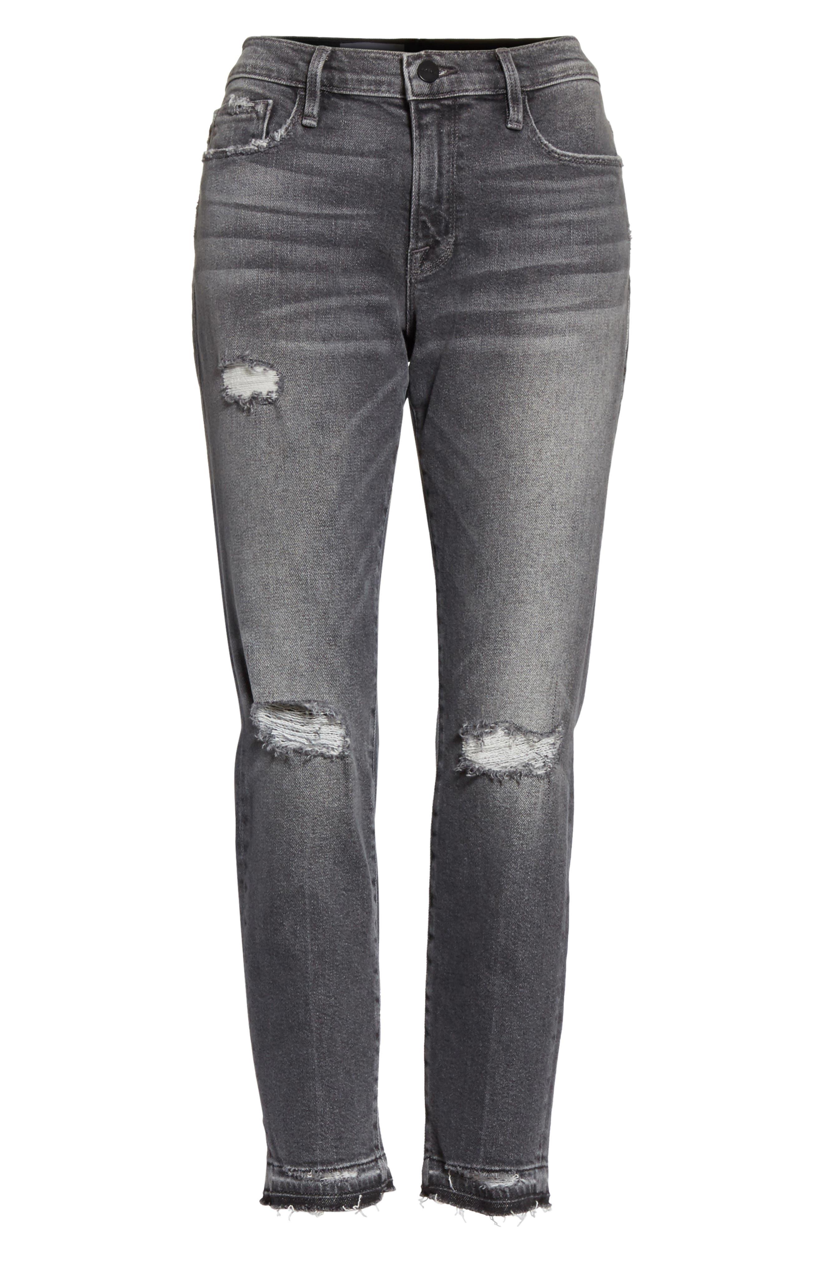 Le Garçon Ripped Released Hem Slim Jeans,                             Alternate thumbnail 7, color,                             Stockcross
