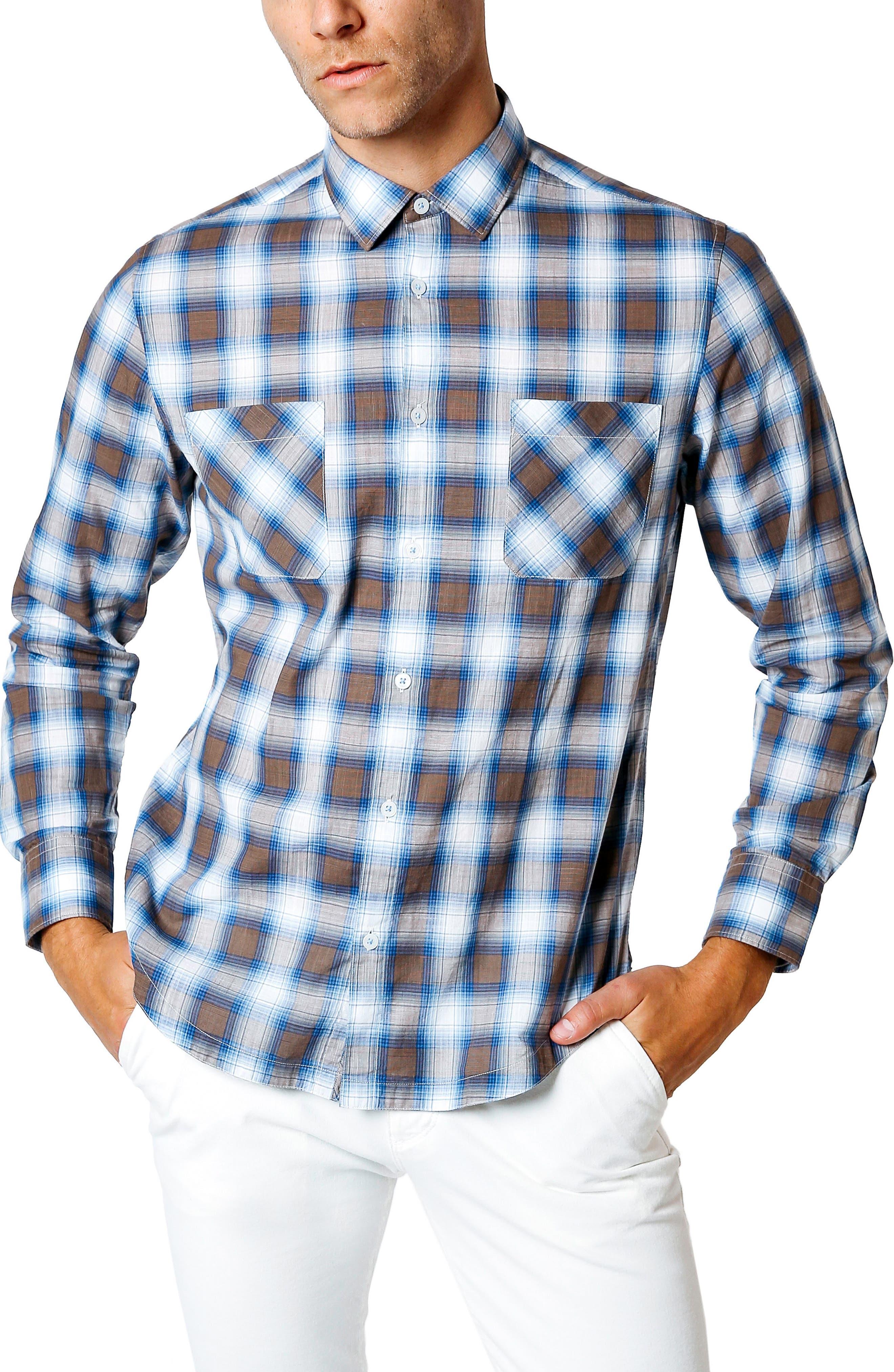 Good Man Brand Trim Fit Plaid Sport Shirt