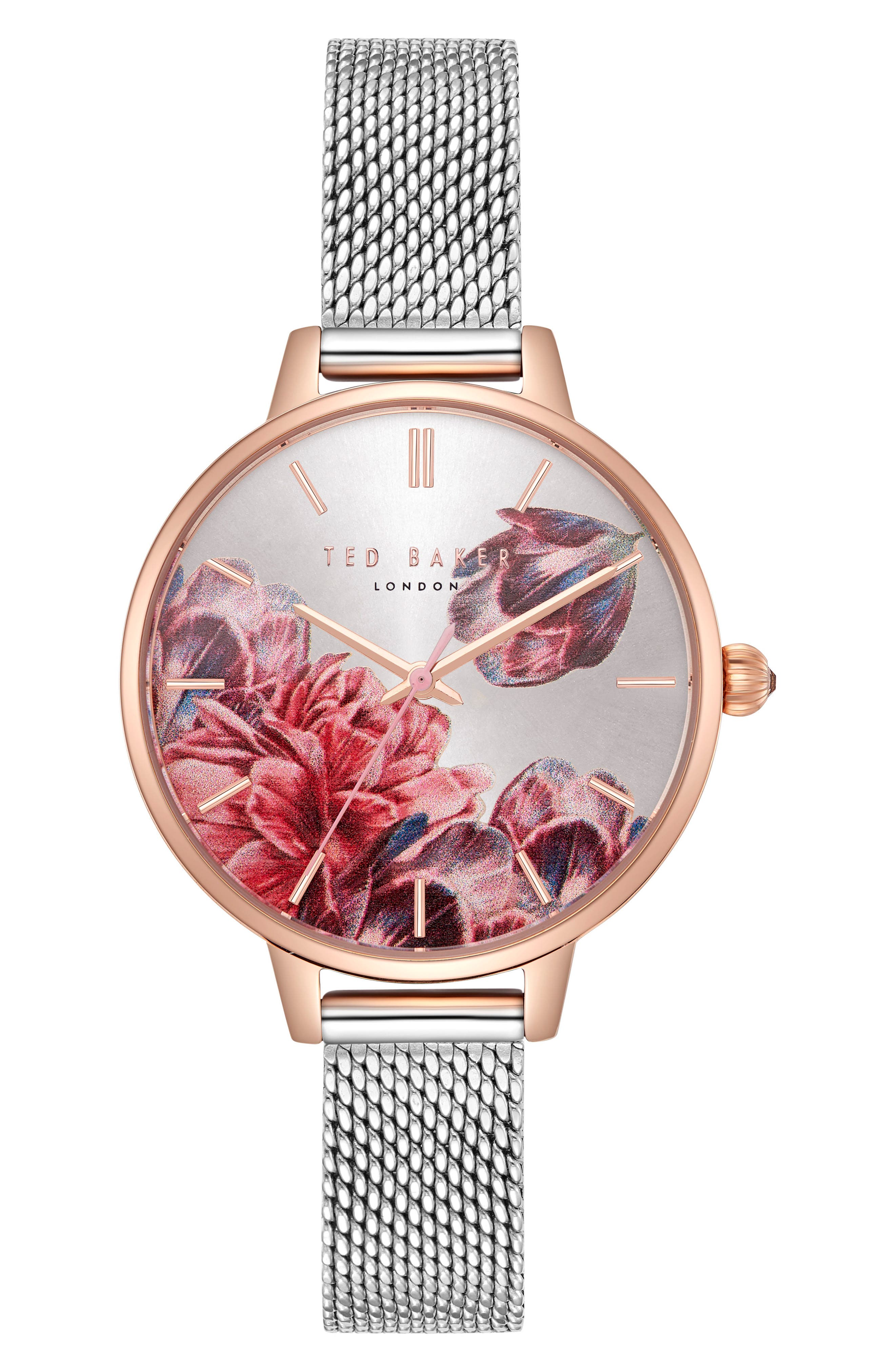 Kate Mesh Strap Watch, 32mm,                         Main,                         color, Silver/ Printed/ Rose Gold