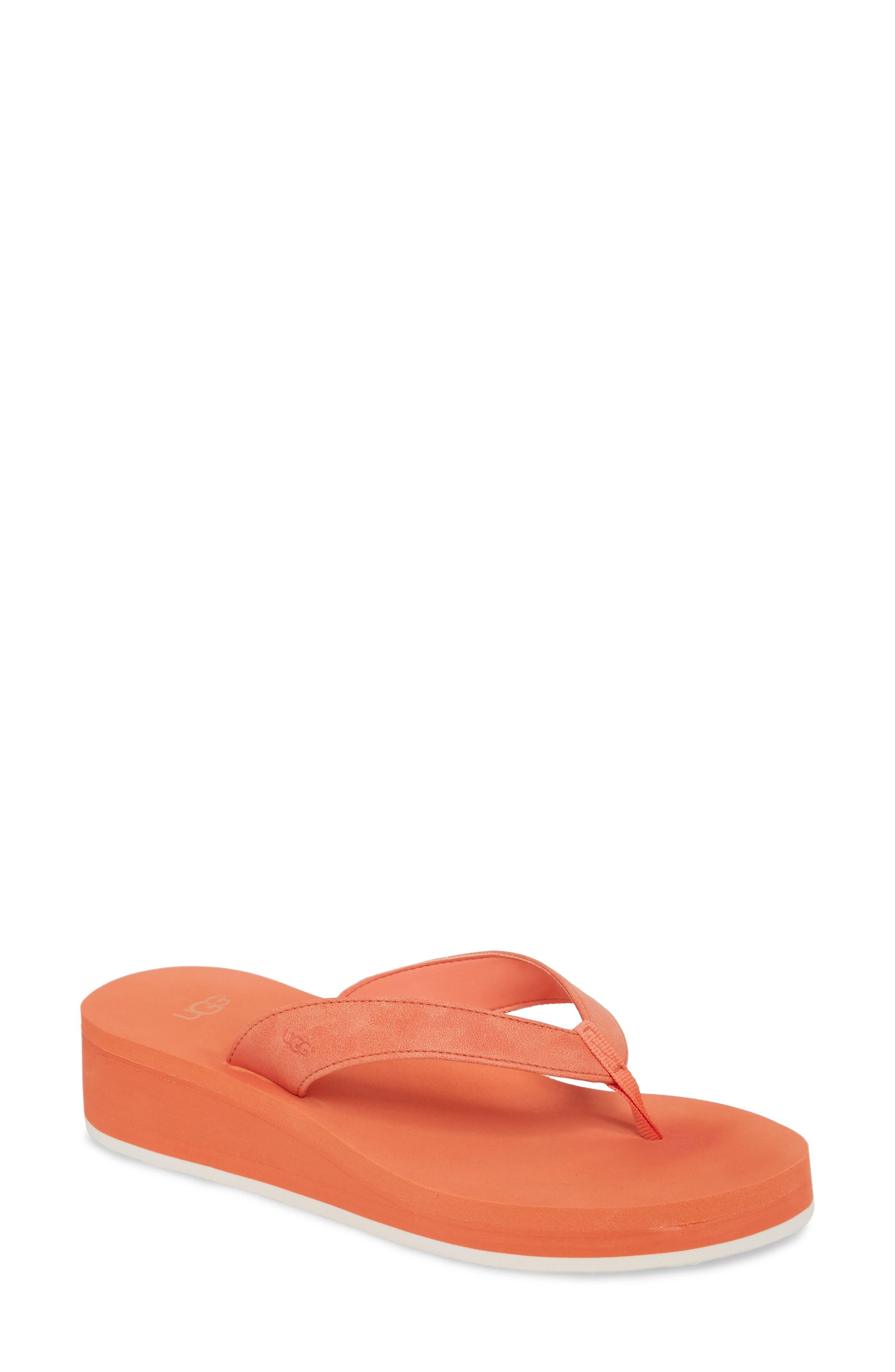 Dani Wedge Flip Flop,                         Main,                         color, Fusion Coral