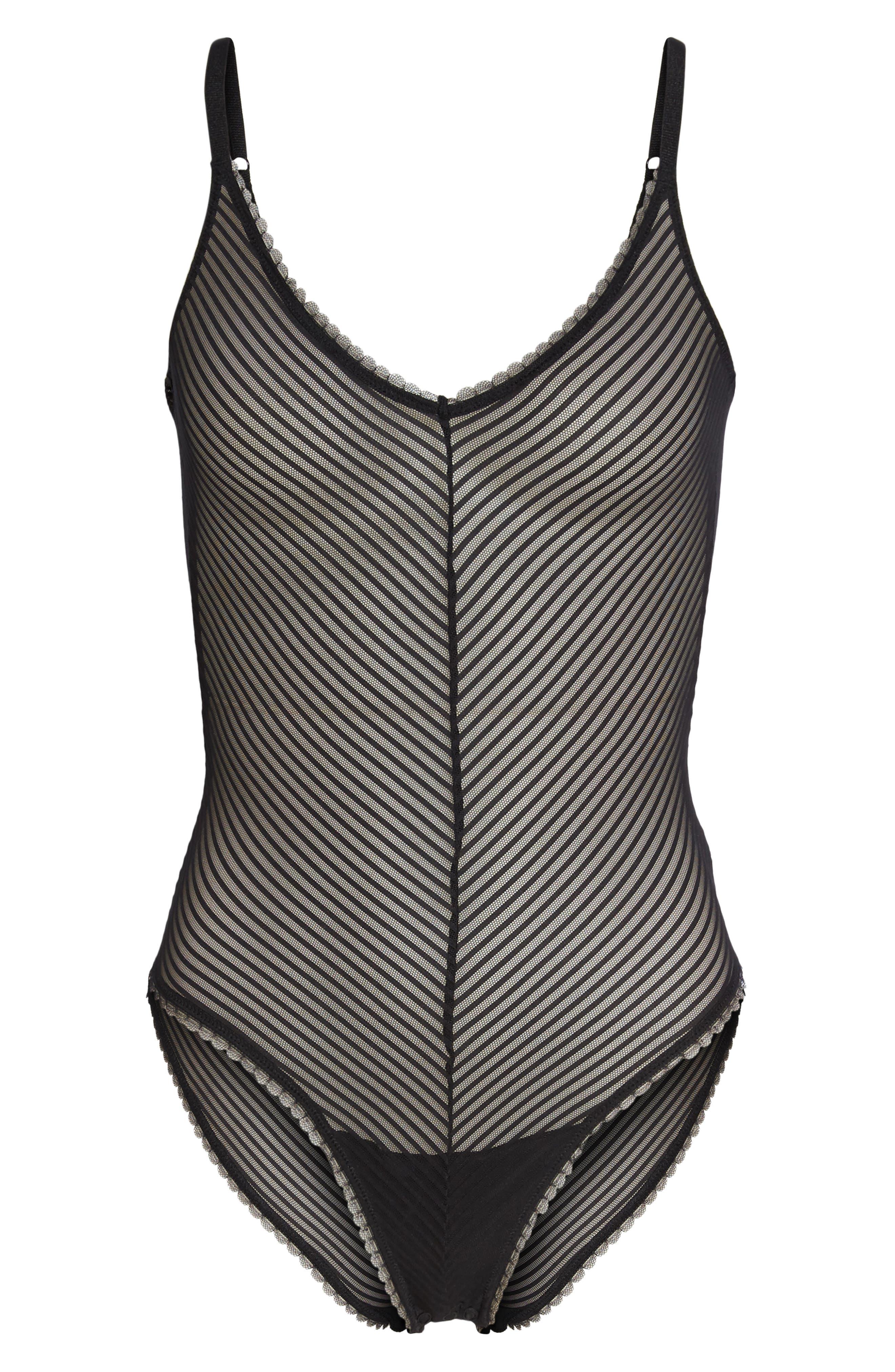 Shiny Stripe Bodysuit,                             Alternate thumbnail 4, color,                             Black