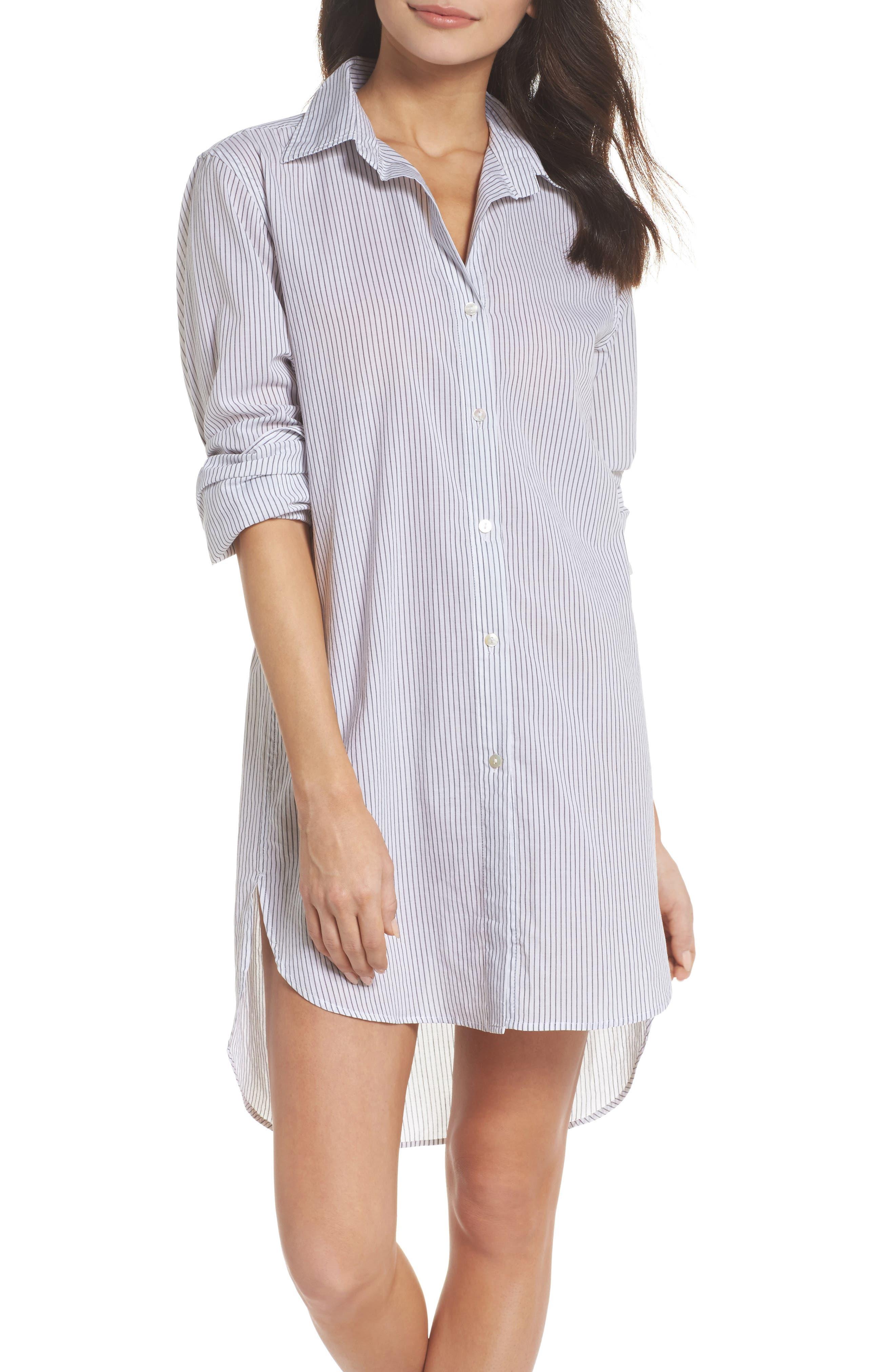 Commando Stripe Oversize Cotton Voile Sleep Shirt