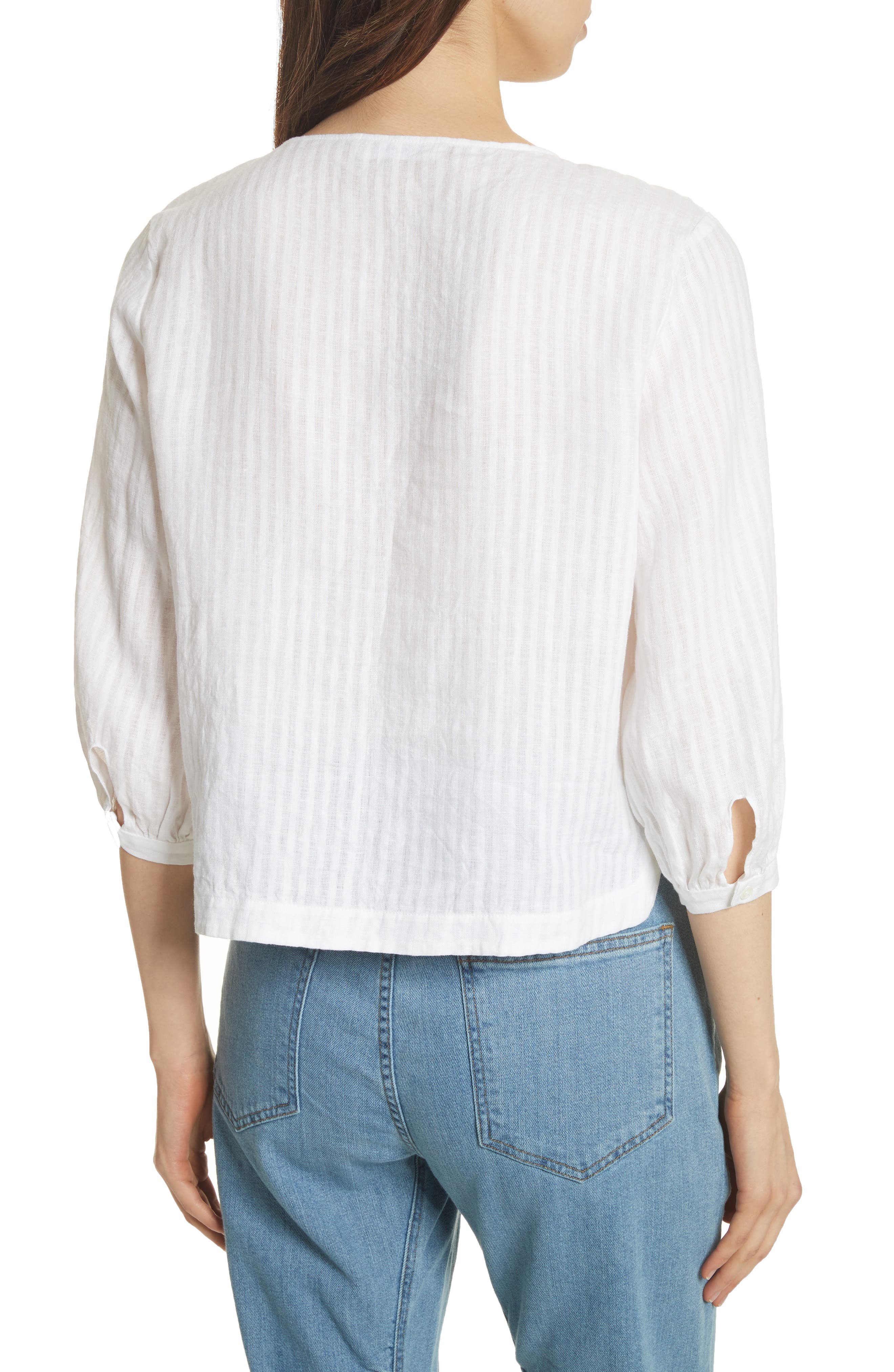 Pintucked Linen Top,                             Alternate thumbnail 2, color,                             Blanc