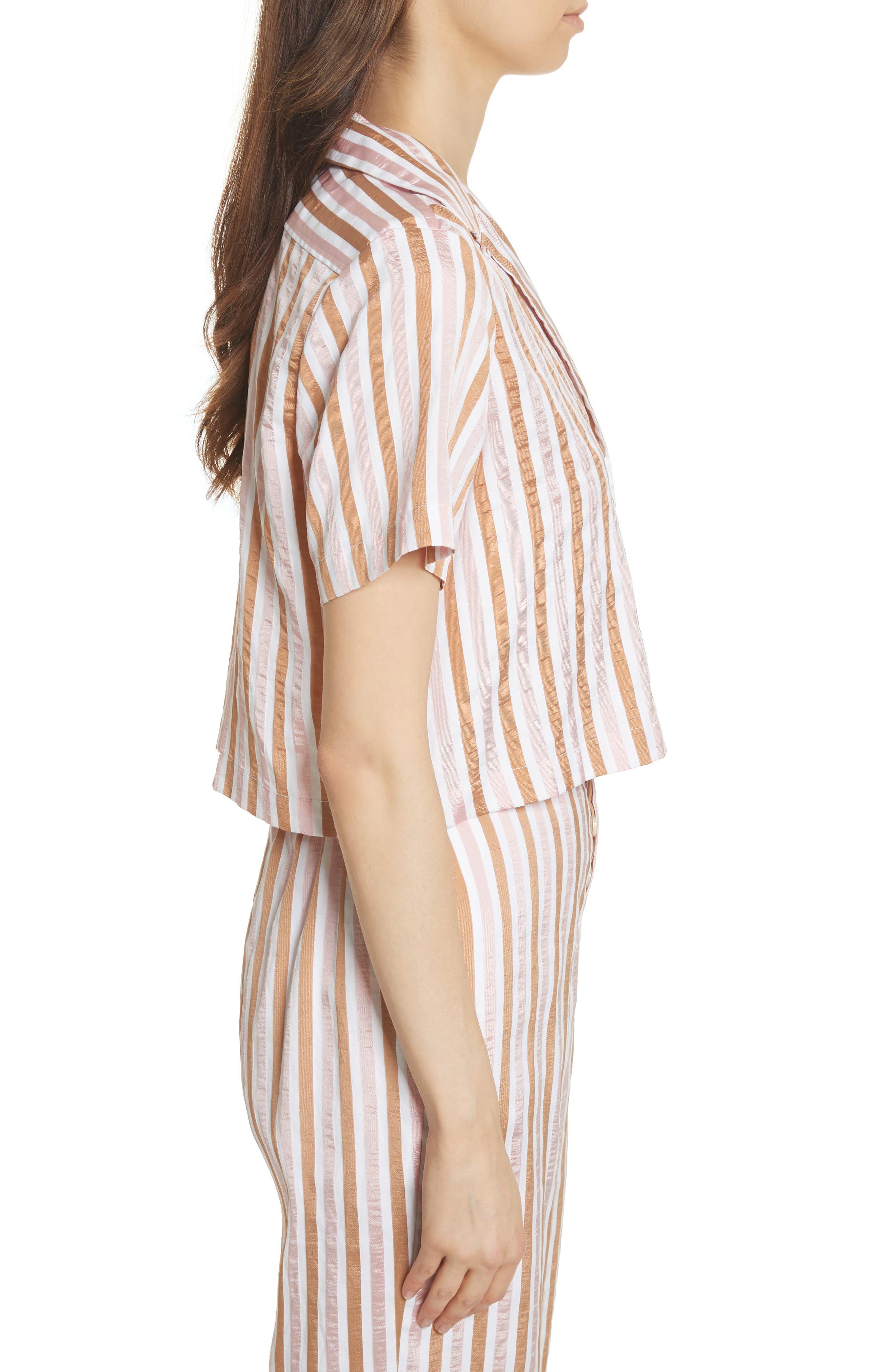 Stripe Mini Crop Shirt,                             Alternate thumbnail 4, color,                             Copper Multi