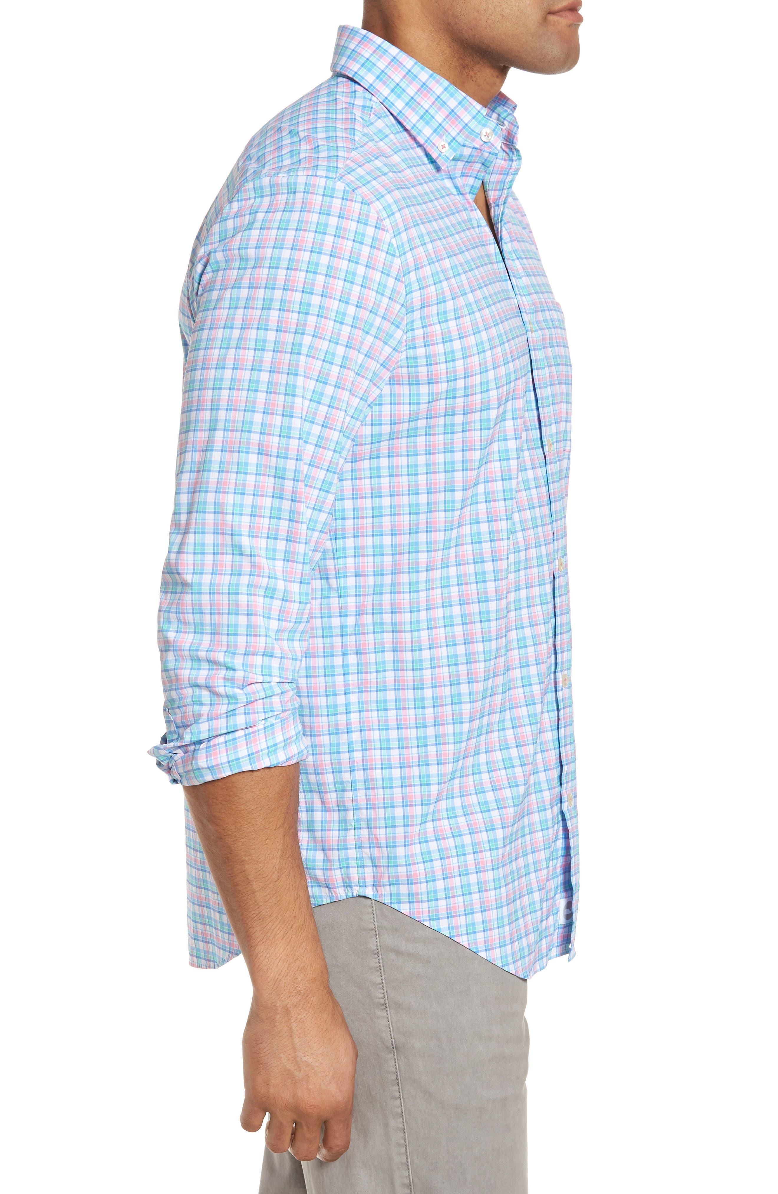 Tiki Bar Plaid Classic Fit Sport Shirt,                             Alternate thumbnail 3, color,                             Pink
