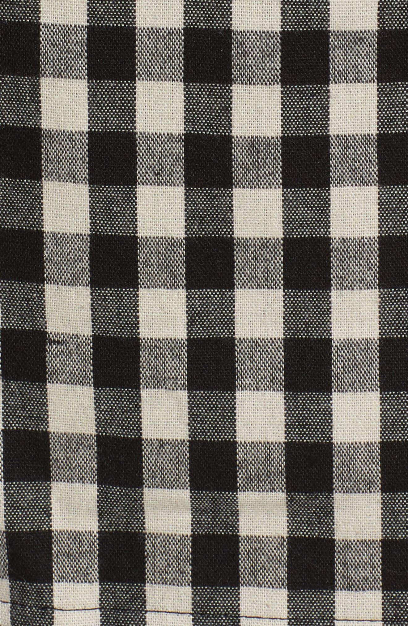 Gingham Trench Coat,                             Alternate thumbnail 6, color,                             Black/ White