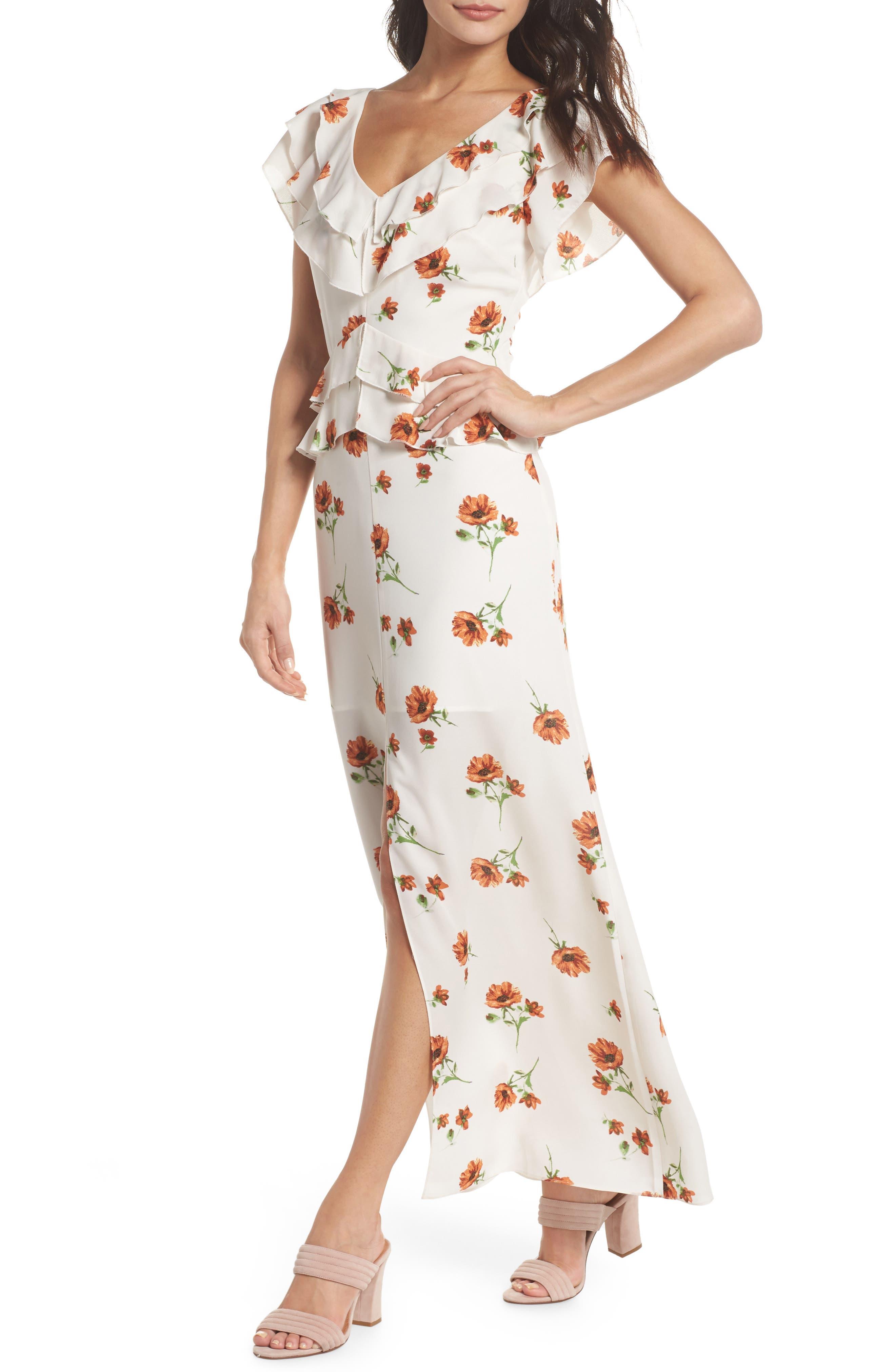 Darling Nikki Floral Maxi Dress,                         Main,                         color, Rust Field Flowers
