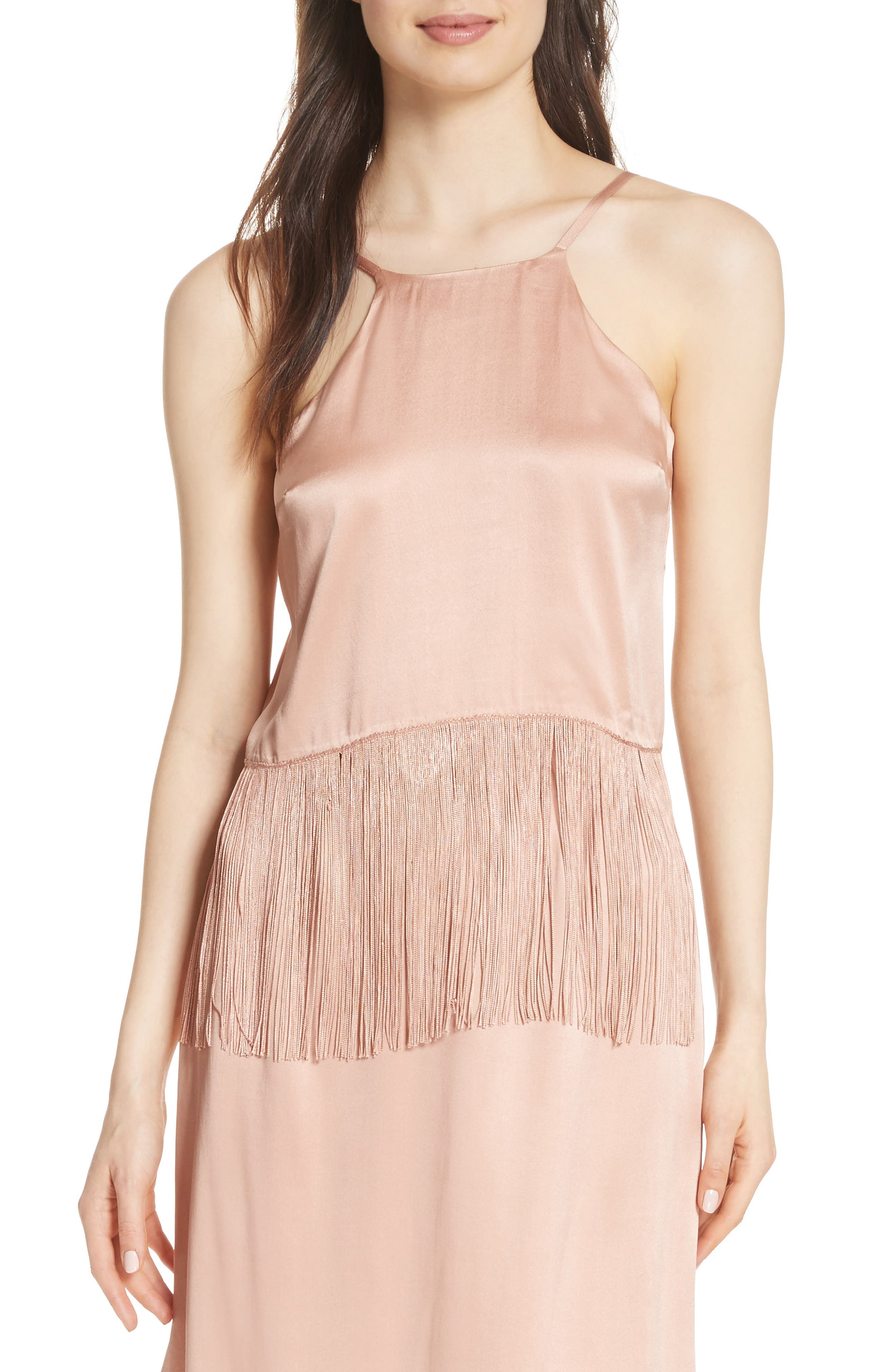 Fringe Halter Silk Tank,                         Main,                         color, Cosmetic Pink