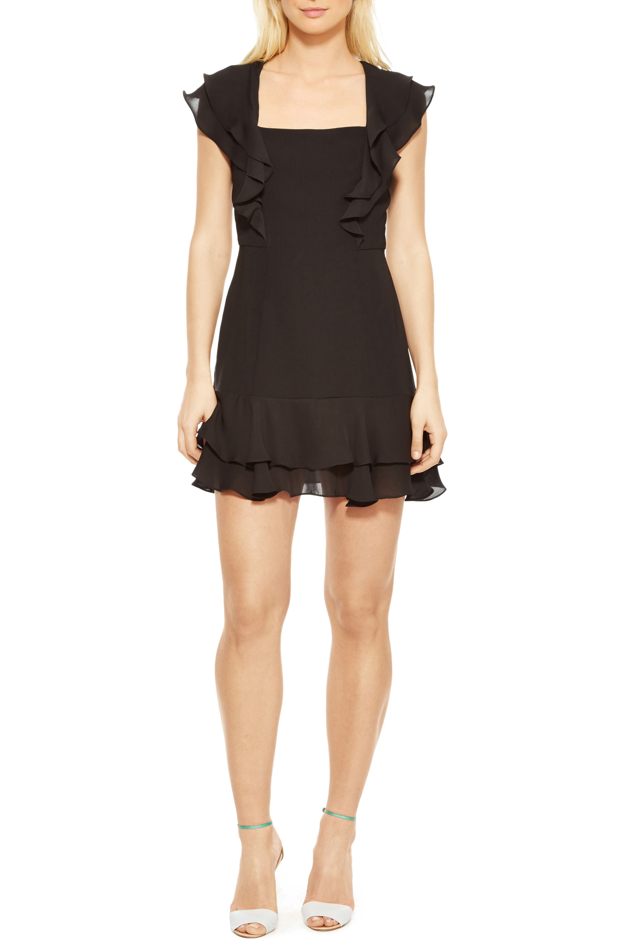 Berlin Ruffle Dress,                             Main thumbnail 1, color,                             Black