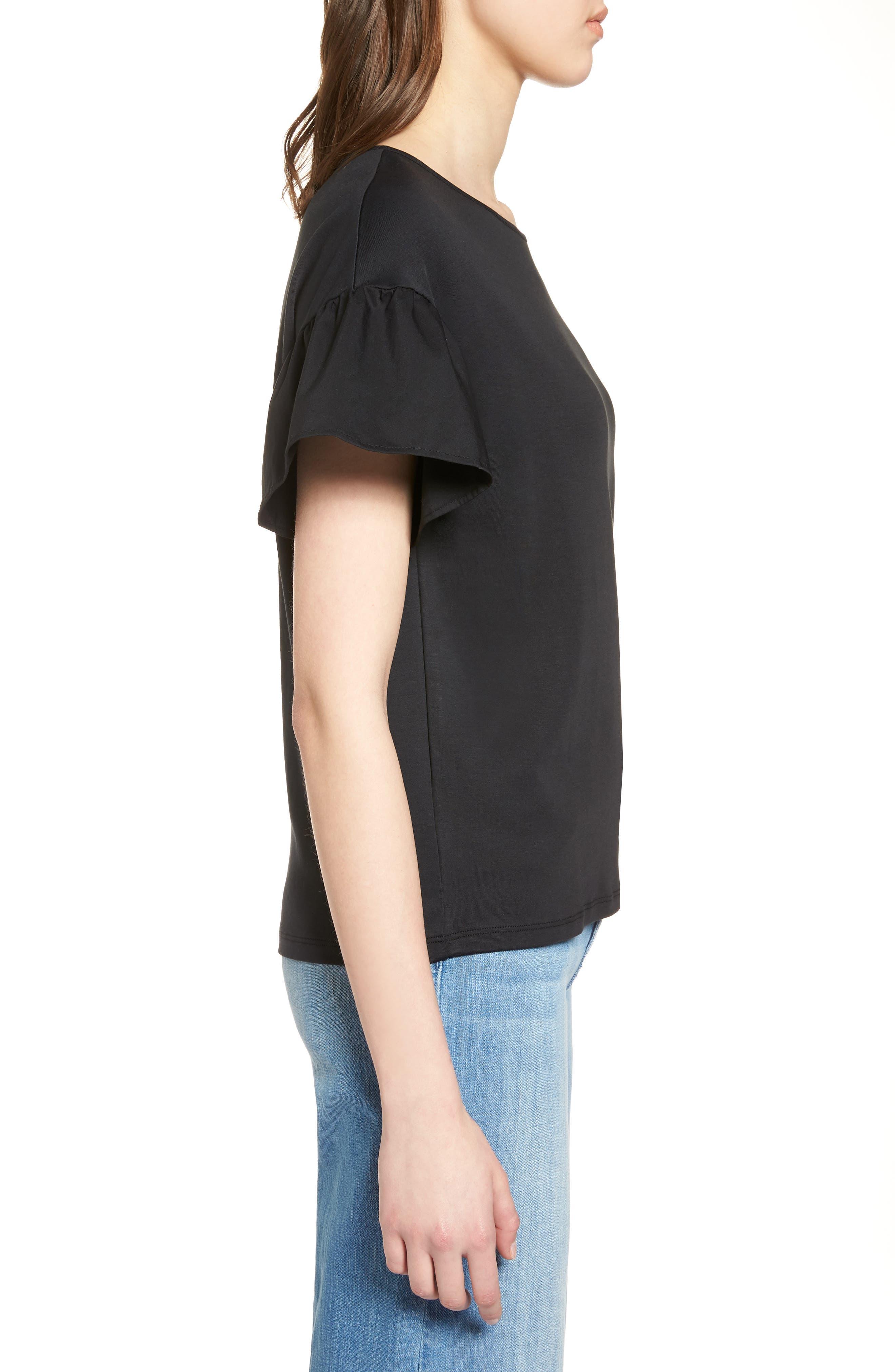 Flutter Sleeve Cotton Knit Top,                             Alternate thumbnail 3, color,                             Black