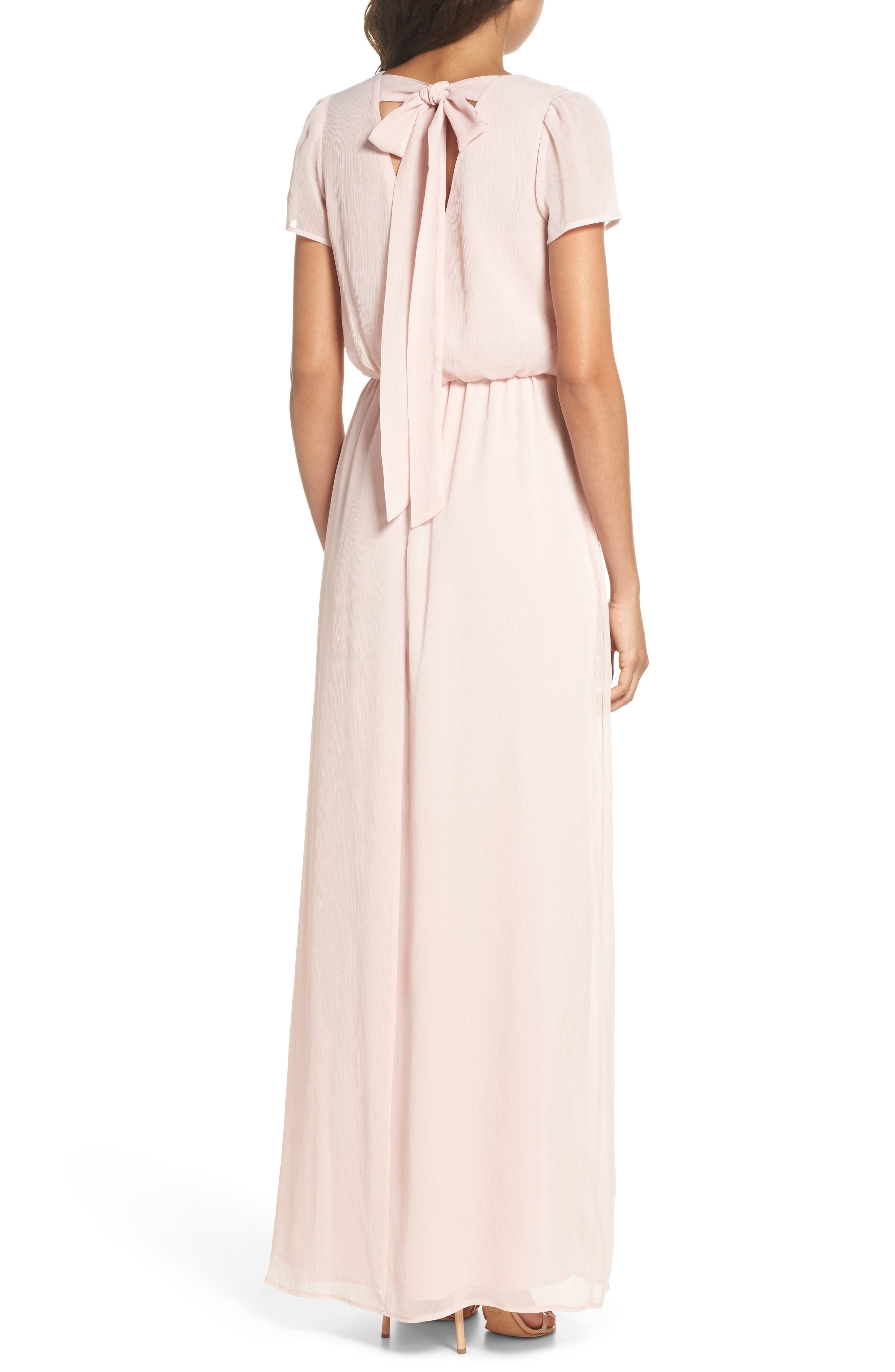 Anna Tie Back Gown,                             Alternate thumbnail 2, color,                             Ballet Pink