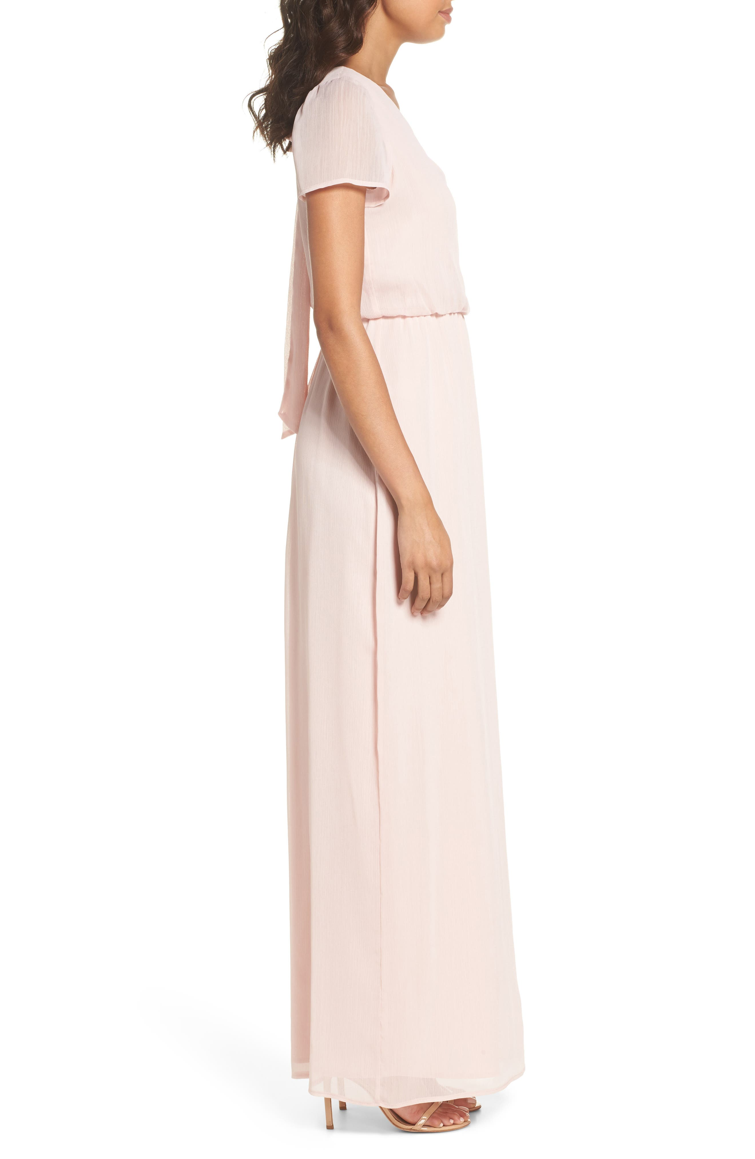 Anna Tie Back Gown,                             Alternate thumbnail 3, color,                             Ballet Pink