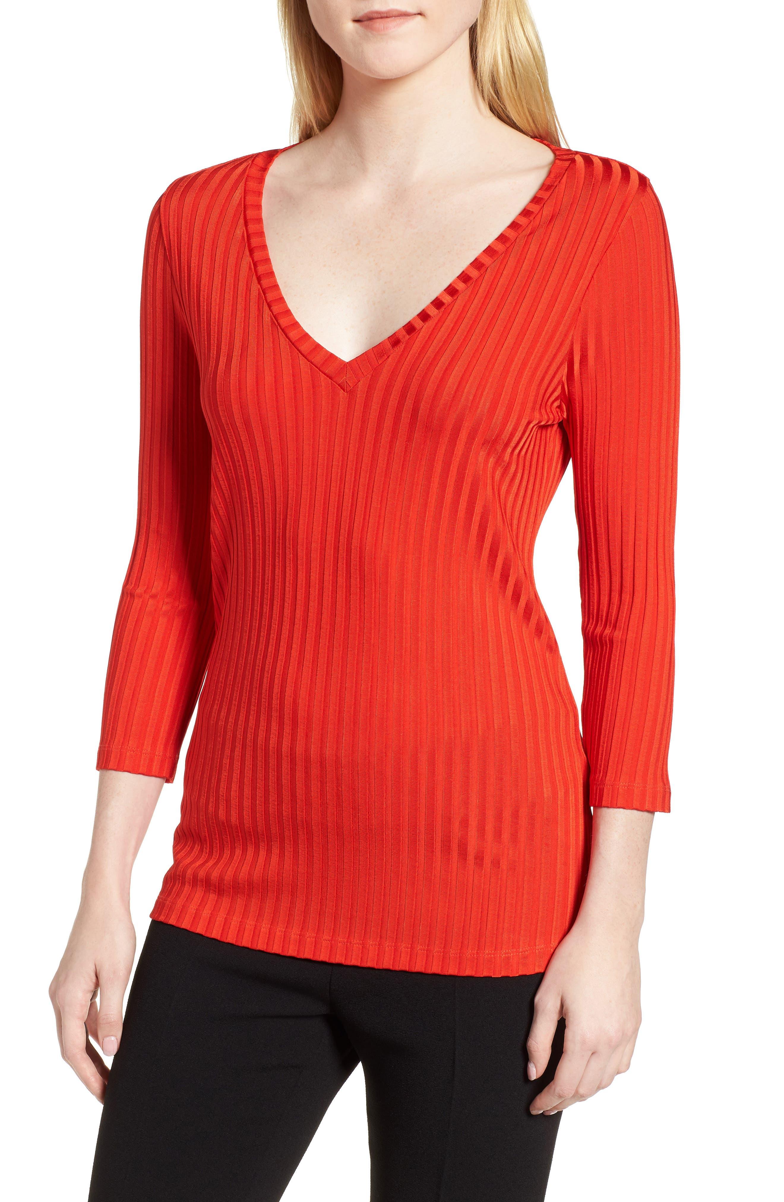 Etrica V-Neck Ribbed Top,                         Main,                         color, Sunset Orange