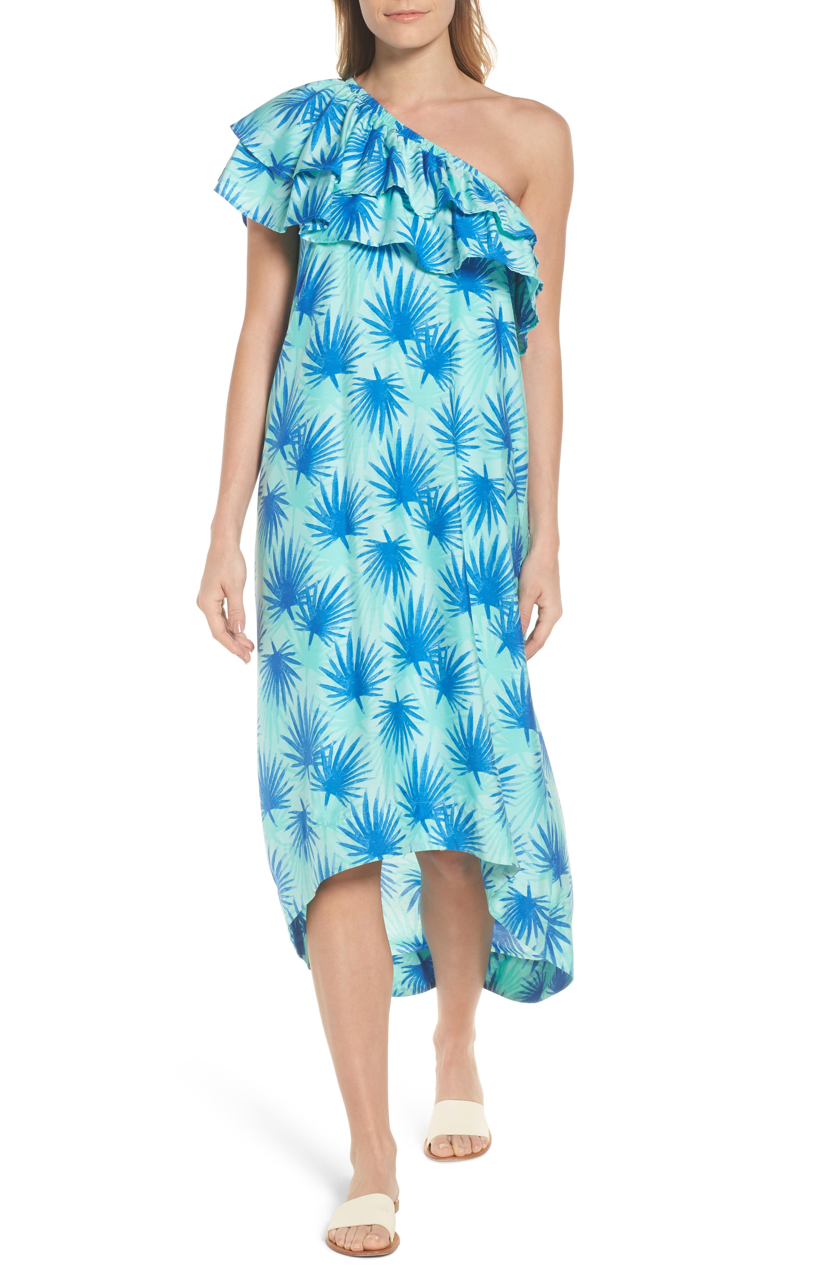 Electric Palm One-Shoulder Silk Blend Dress,                         Main,                         color, Aquamarine