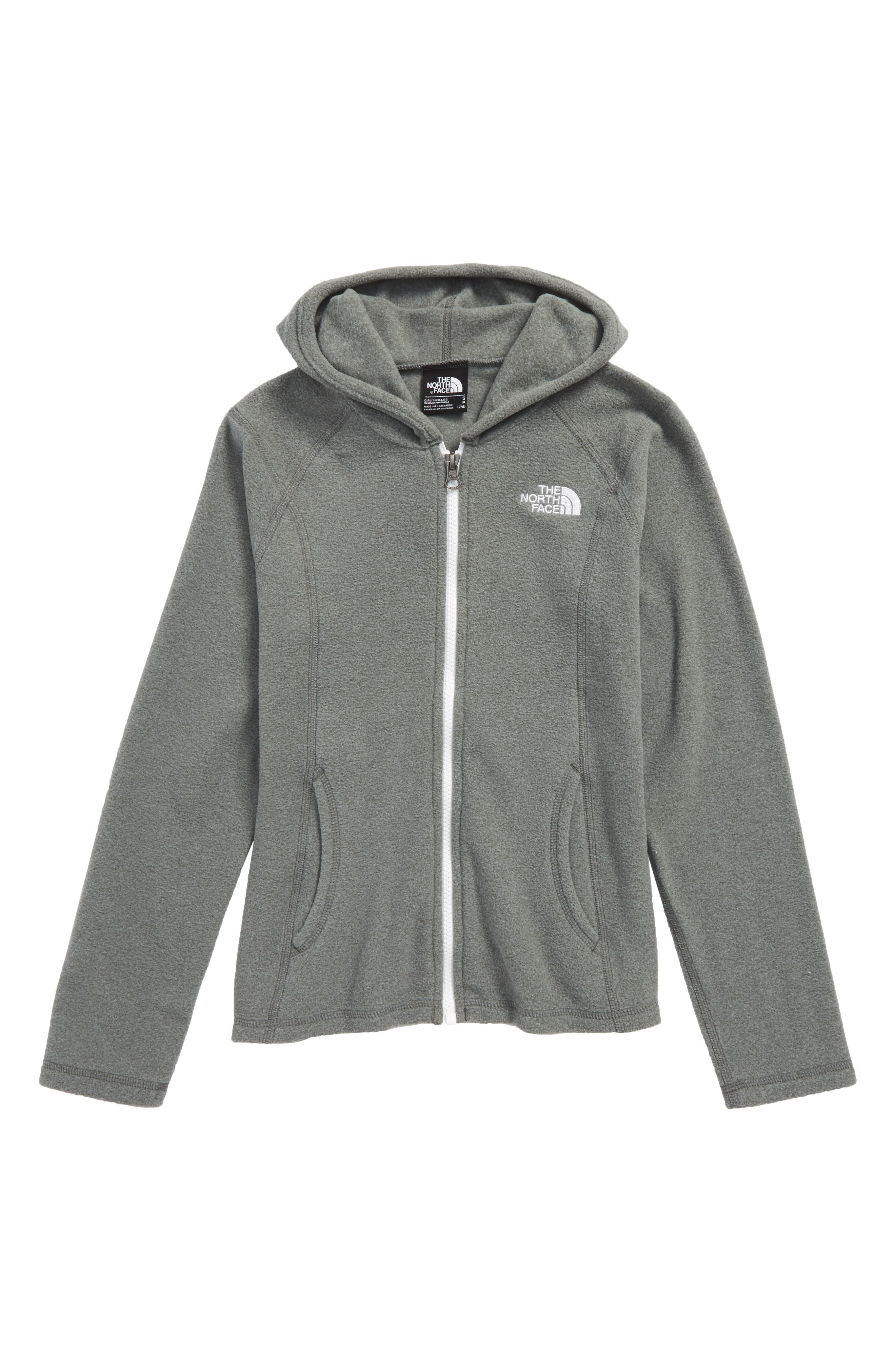 Glacier Full Zip Fleece Hoodie,                         Main,                         color, Medium Grey Heather/ White