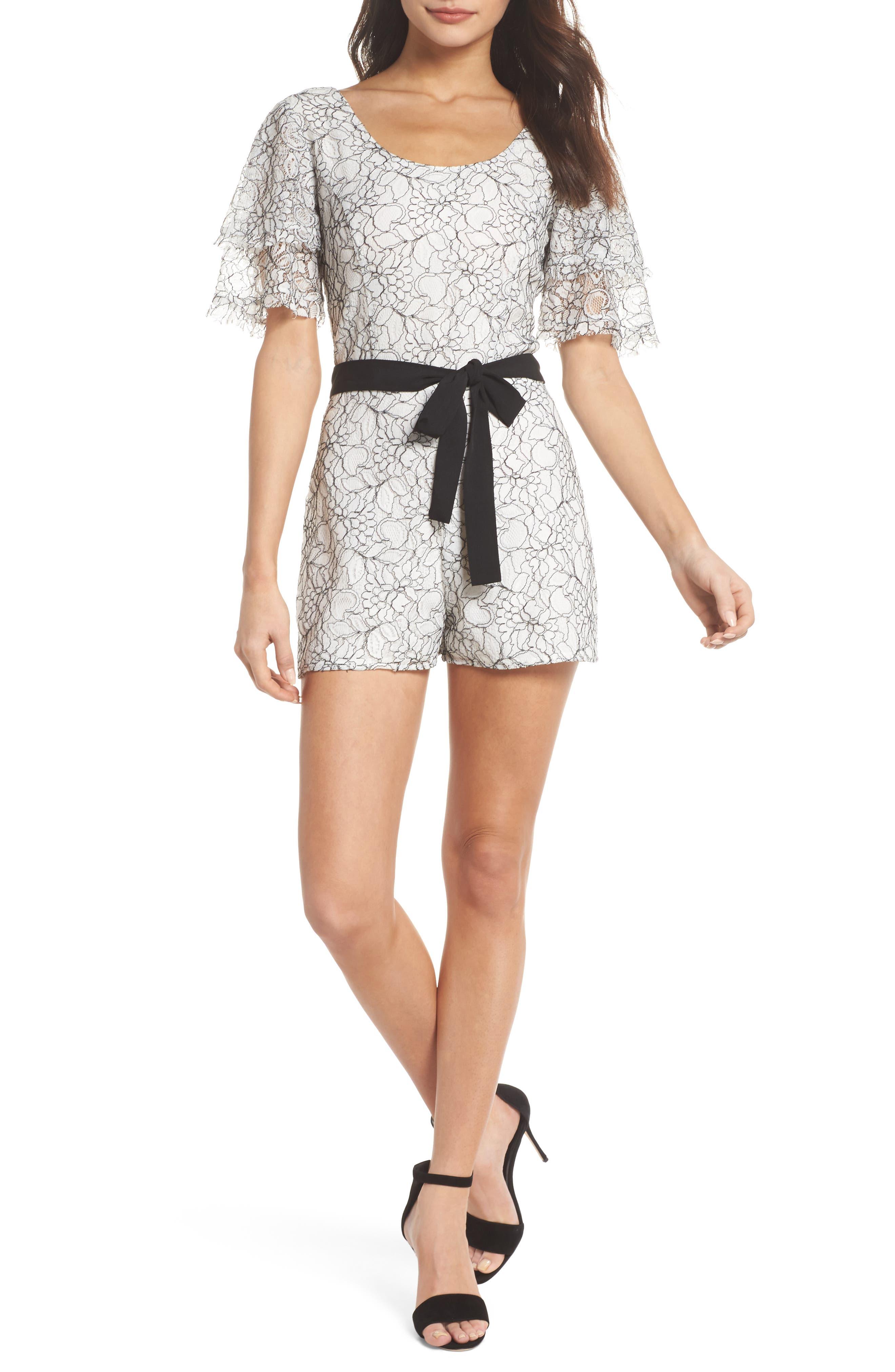 Tower Bar Lace Romper,                         Main,                         color, White/ Black Lace