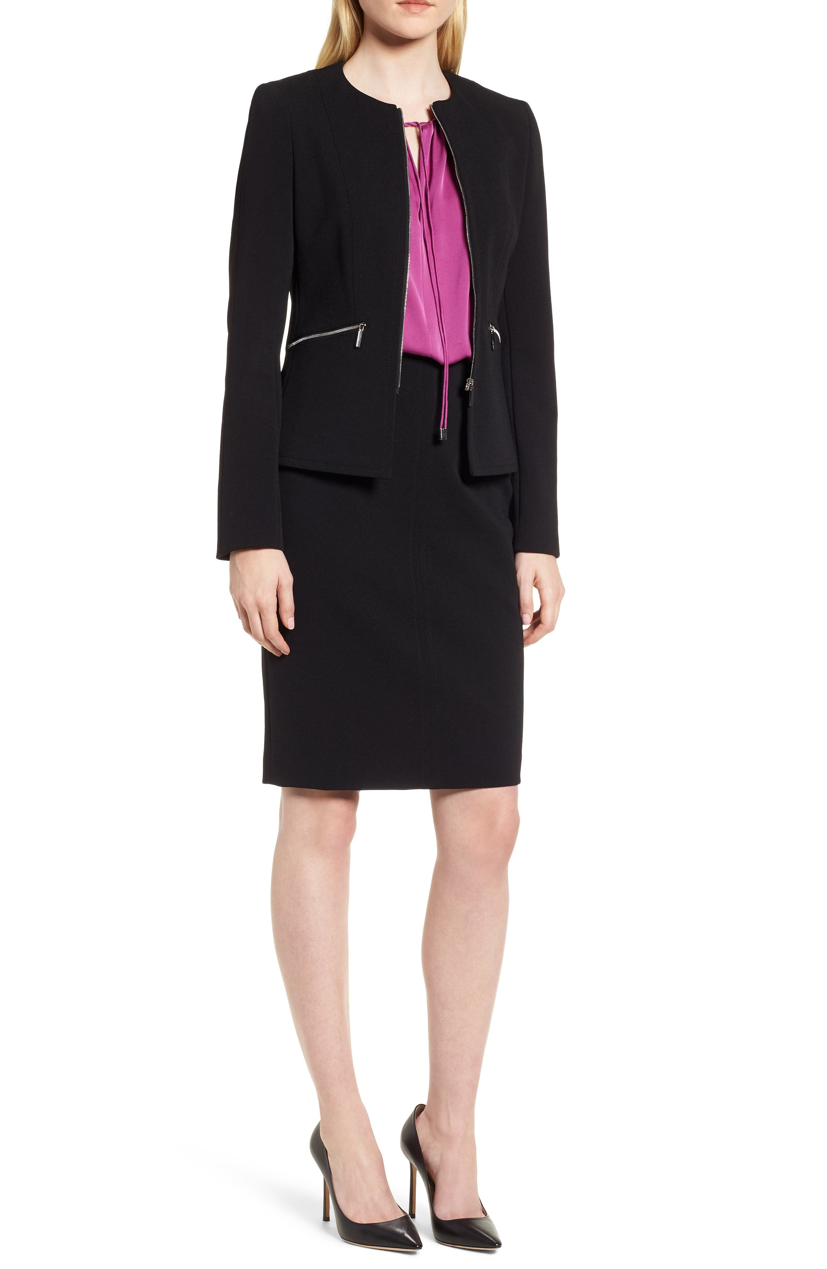 Jazulara Twill Jersey Suit Jacket,                             Alternate thumbnail 8, color,                             Black