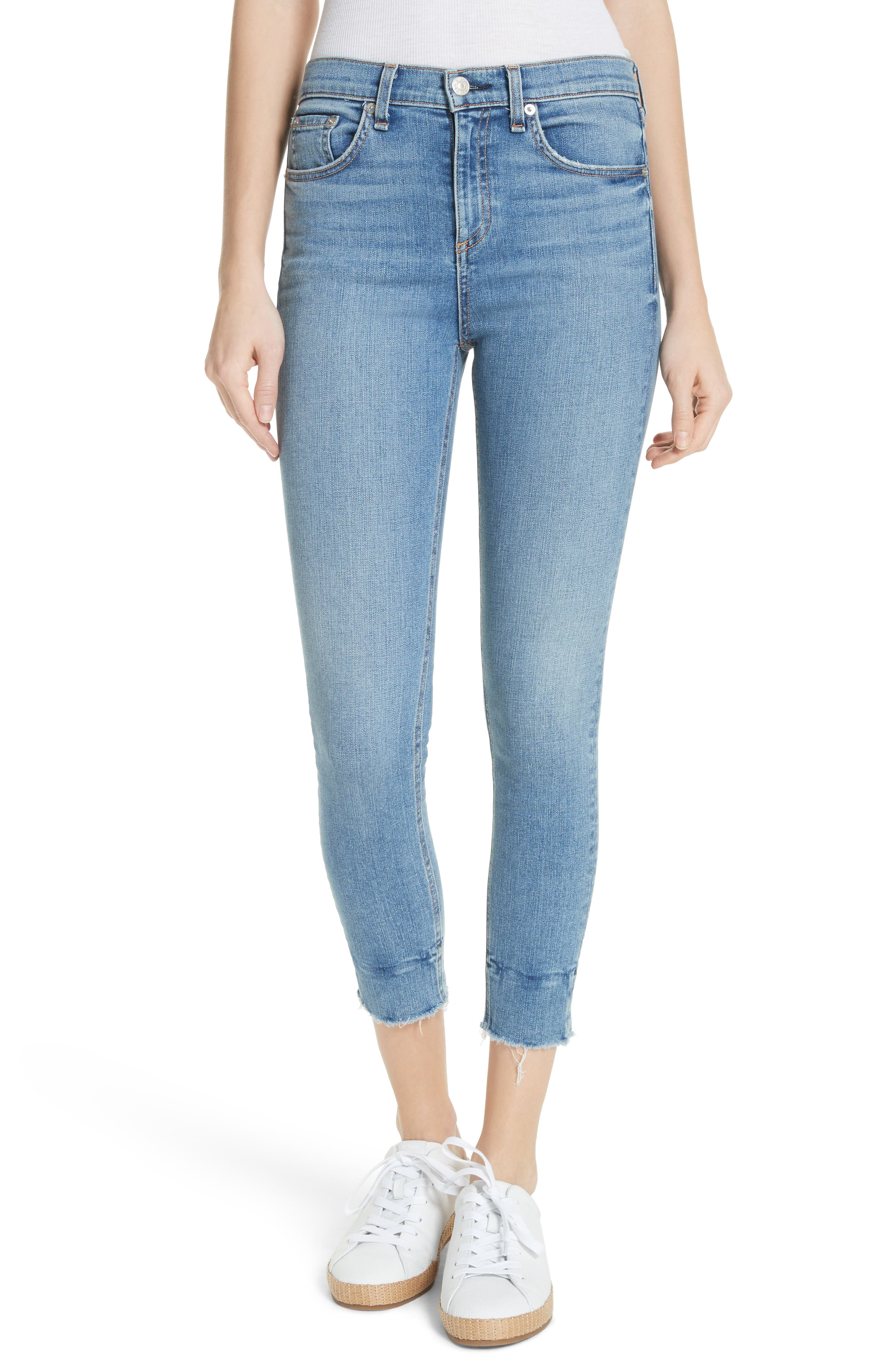 High Waist Ankle Skinny Jeans,                             Main thumbnail 1, color,                             Levee