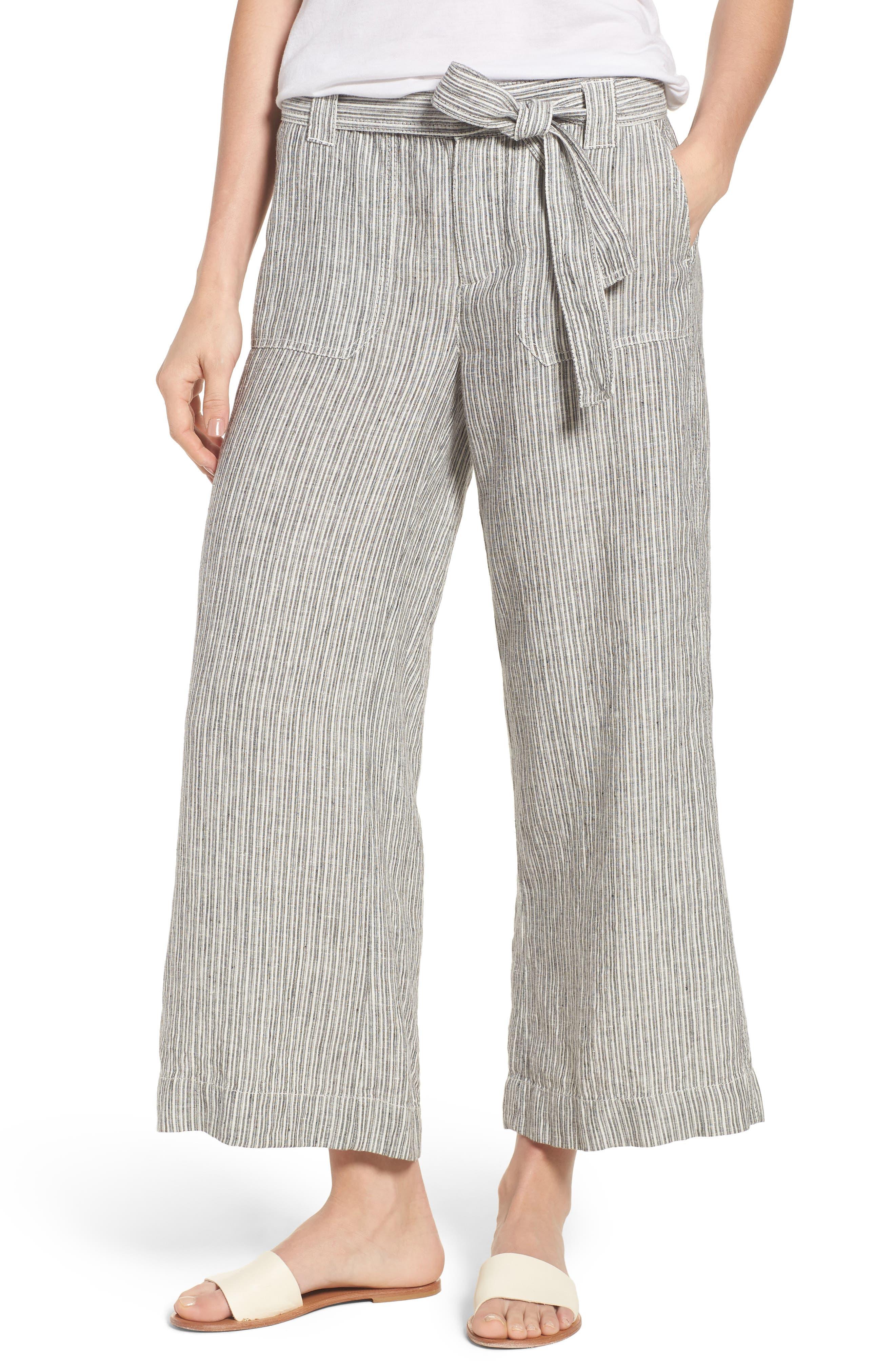 Caslon® Wide Leg Crop Linen Pants