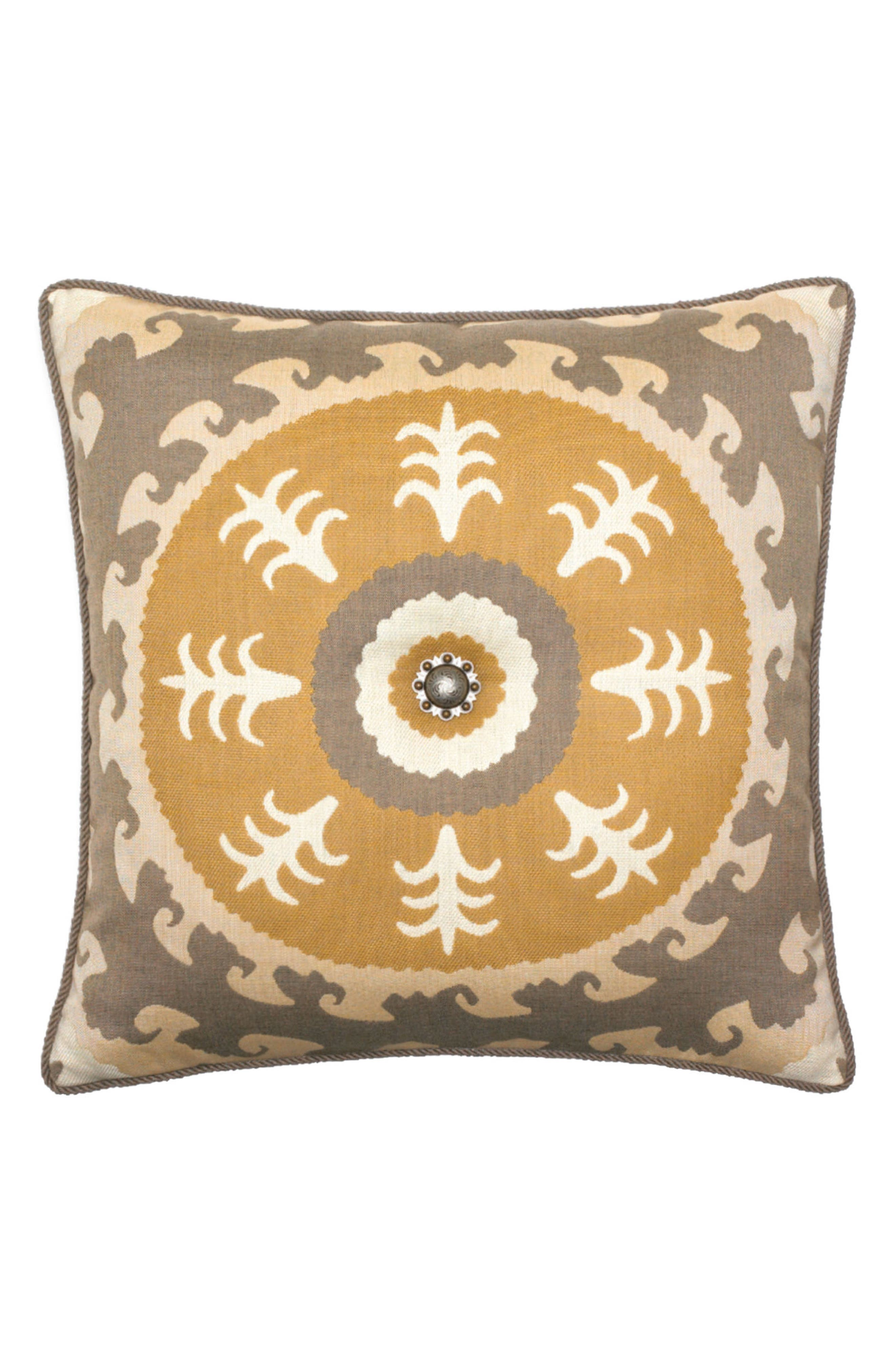 Jeweled Sedona Sun Indoor/Outdoor Accent Pillow,                         Main,                         color, Gold/ Grey