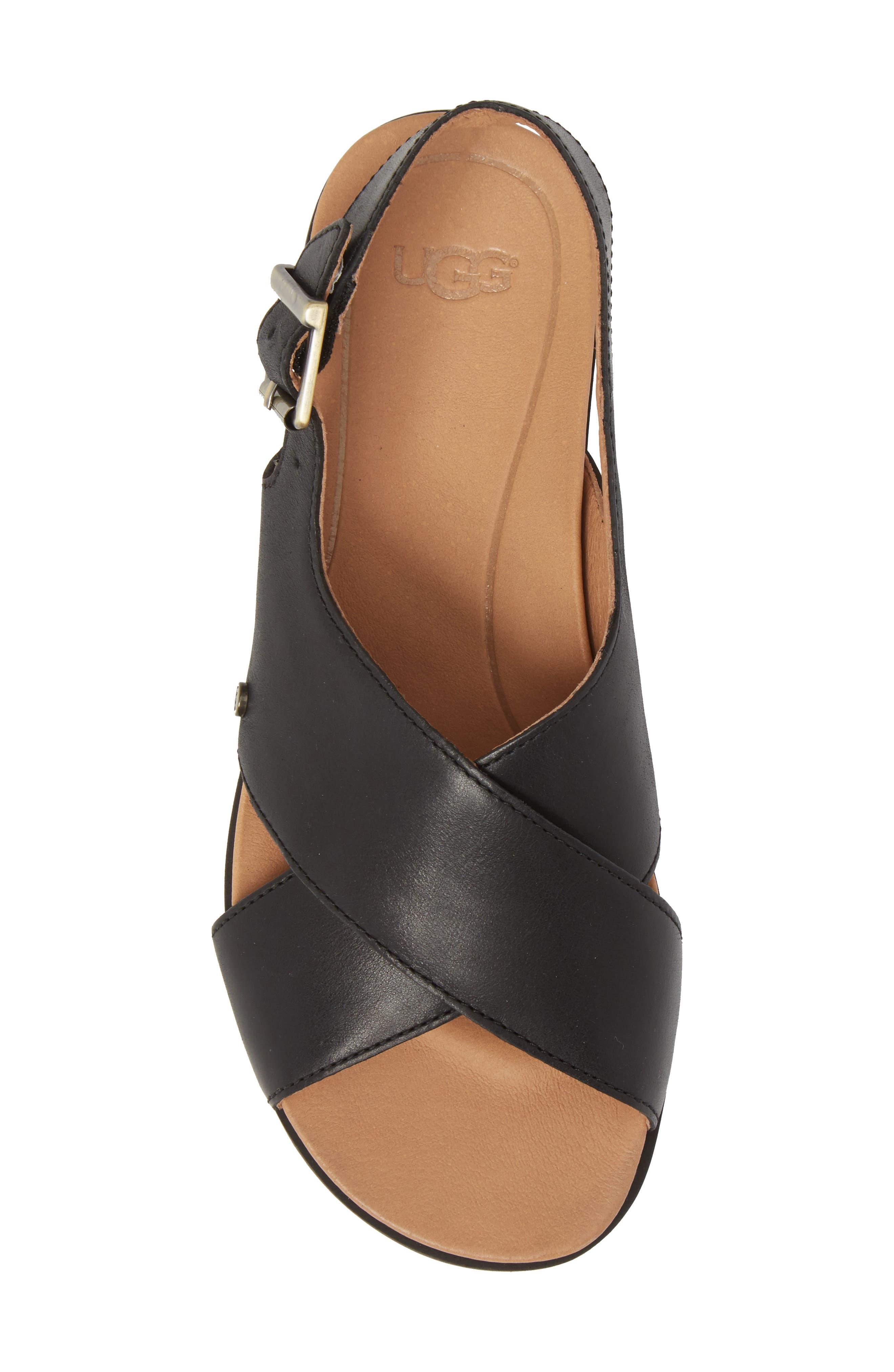 Kamile Sandal,                             Alternate thumbnail 5, color,                             Black Leather
