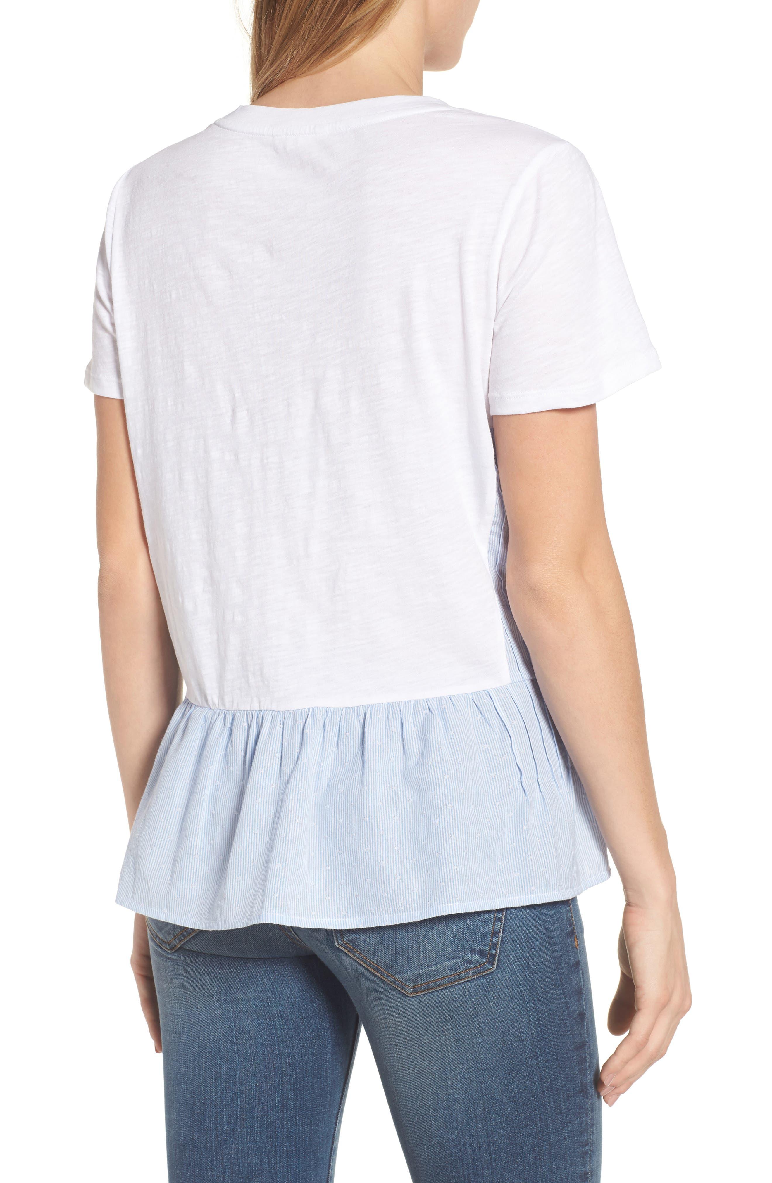 Layered Look Tee,                             Alternate thumbnail 2, color,                             White- Blue White Dobby Stripe