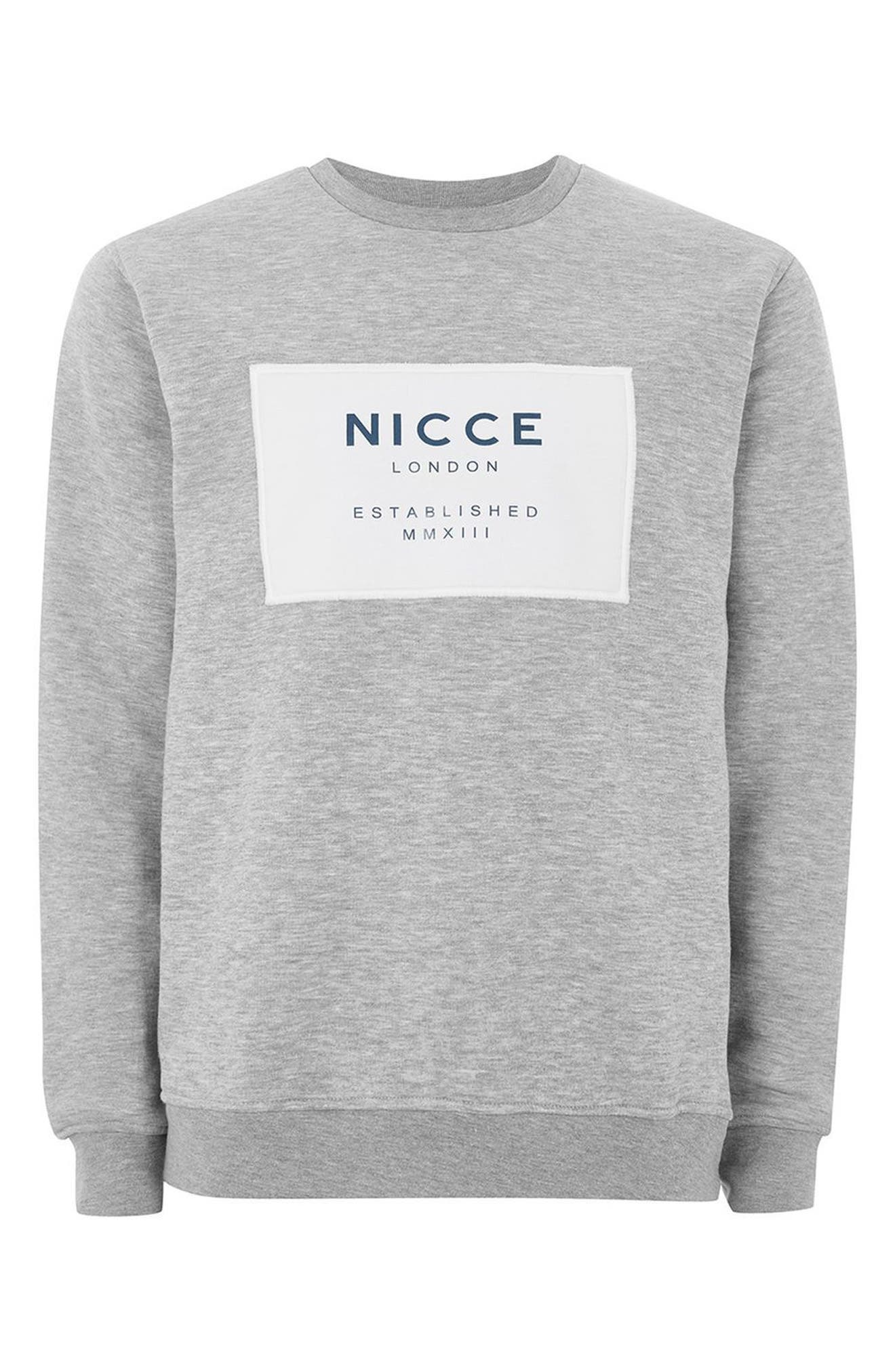 NICCE Logo Patch Sweatshirt,                             Alternate thumbnail 4, color,                             Grey Multi