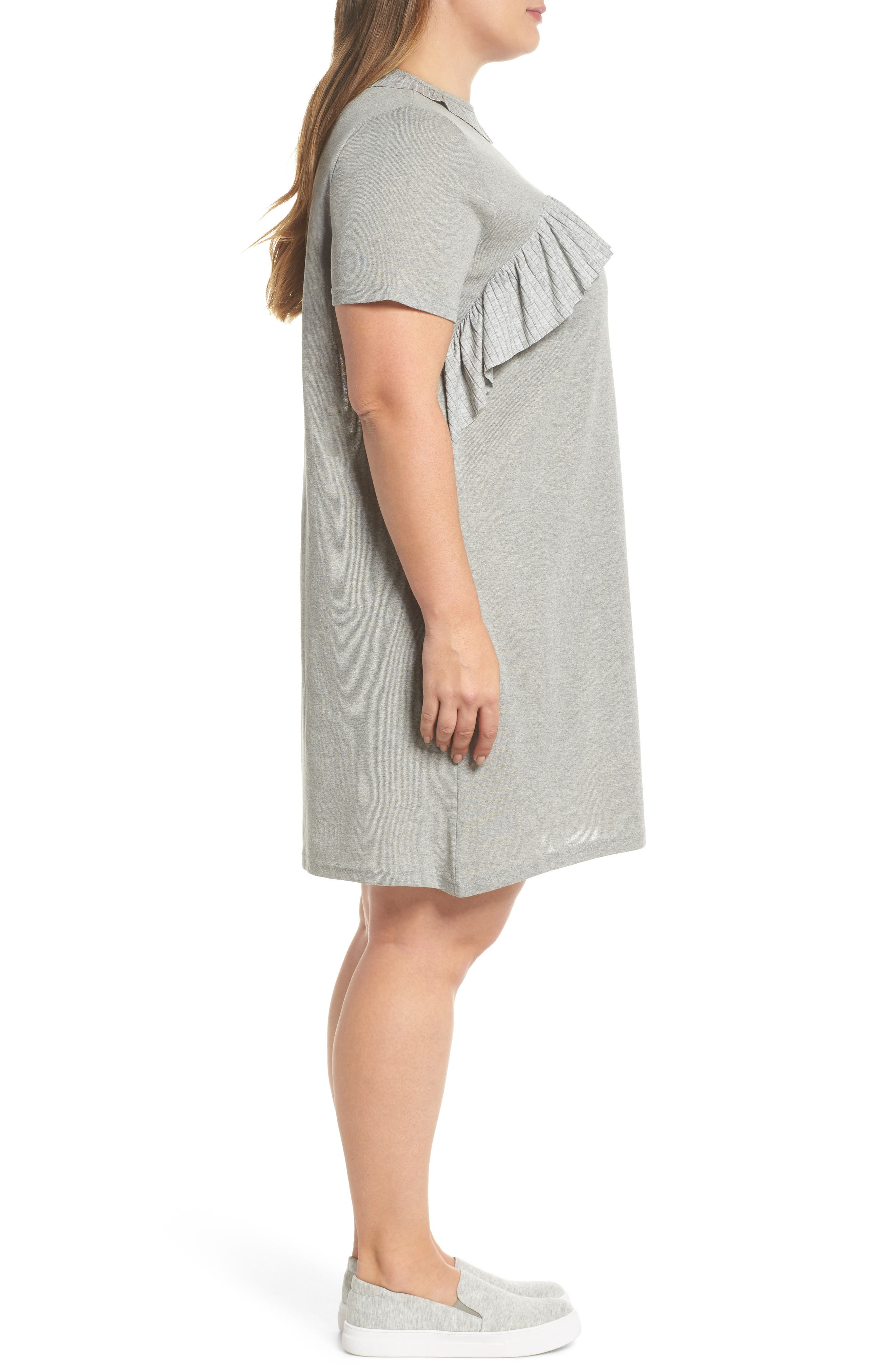 Pleated Frill Swing Dress,                             Alternate thumbnail 3, color,                             Grey