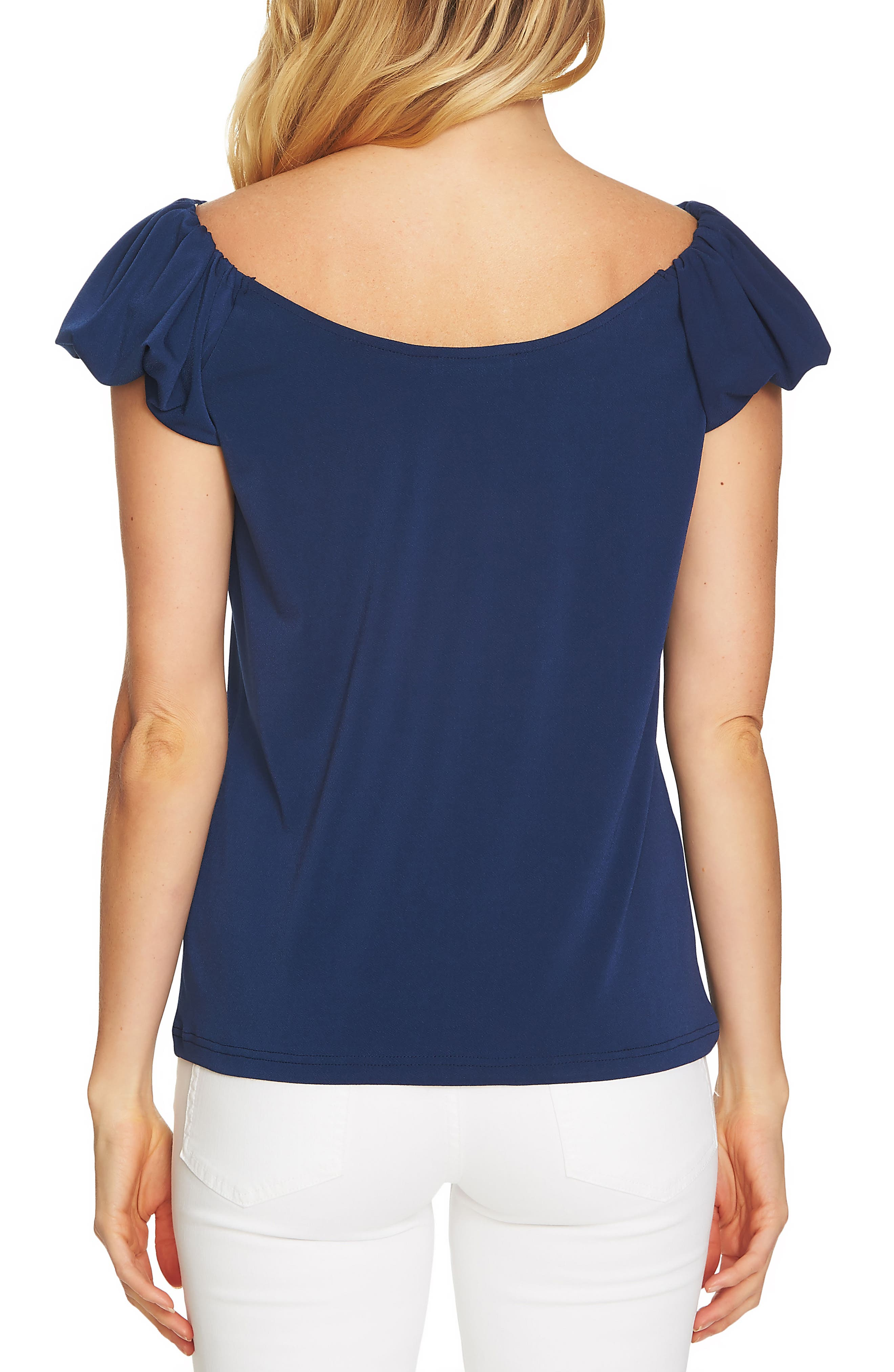 Puffed Short Sleeve Top,                             Alternate thumbnail 2, color,                             Naval Navy