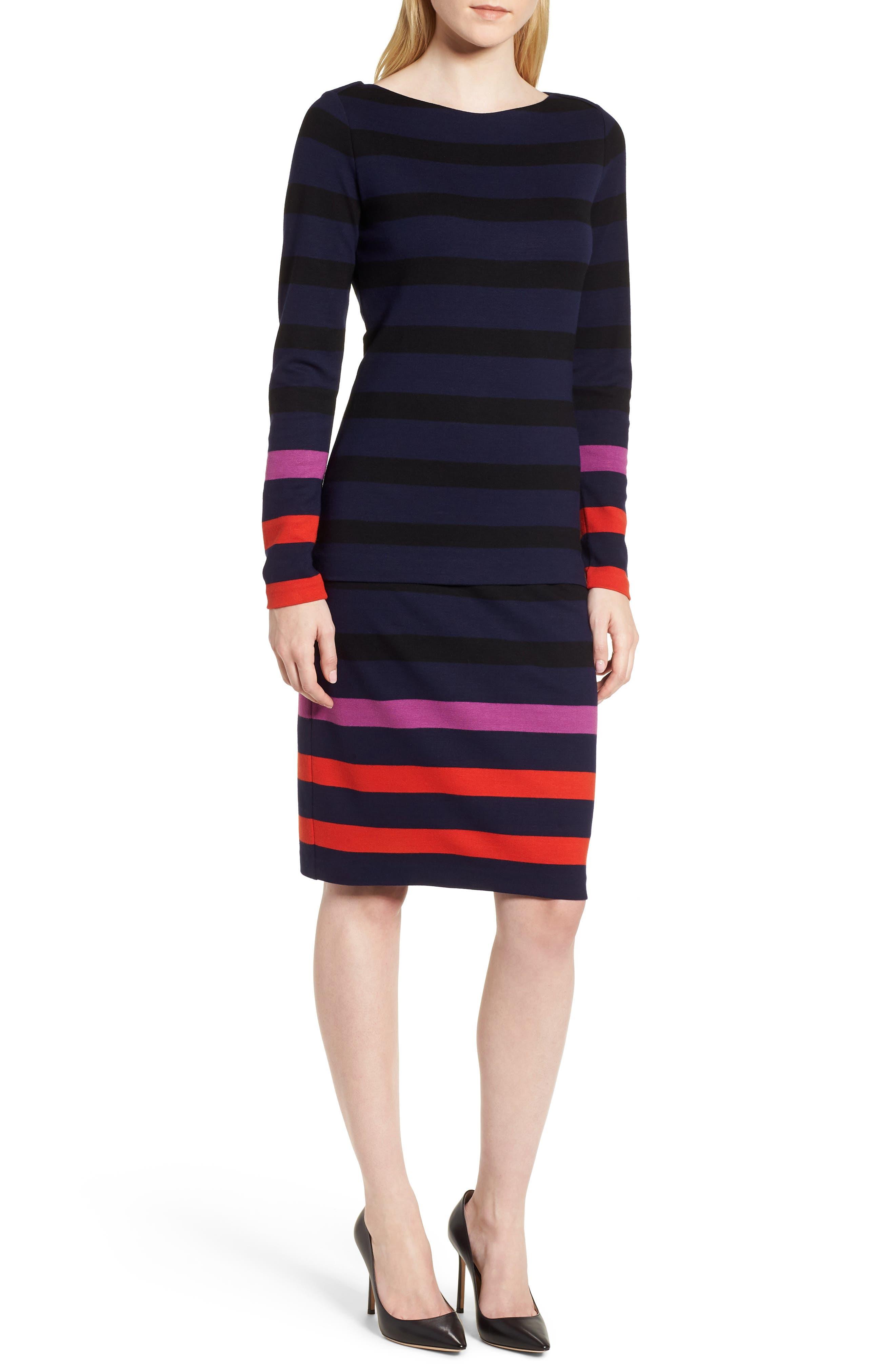 Ebienne Stripe Pencil Skirt,                             Alternate thumbnail 5, color,                             Nautical Blue Fantasy