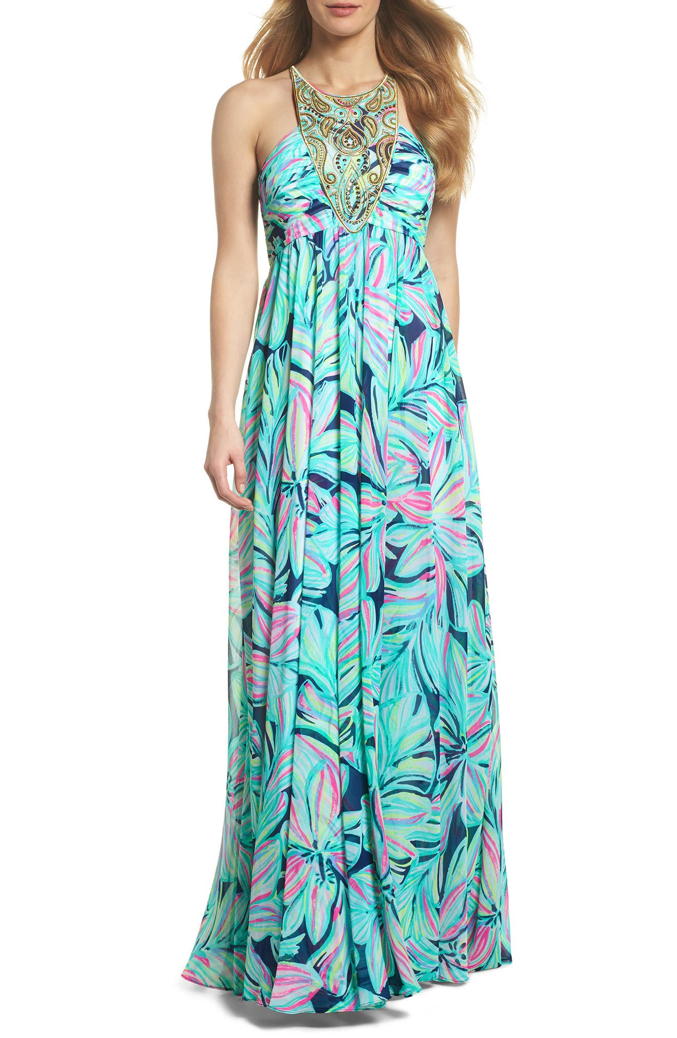Lannette Embellished Chiffon Maxi Dress,                         Main,                         color, High Tide Dancing Lady