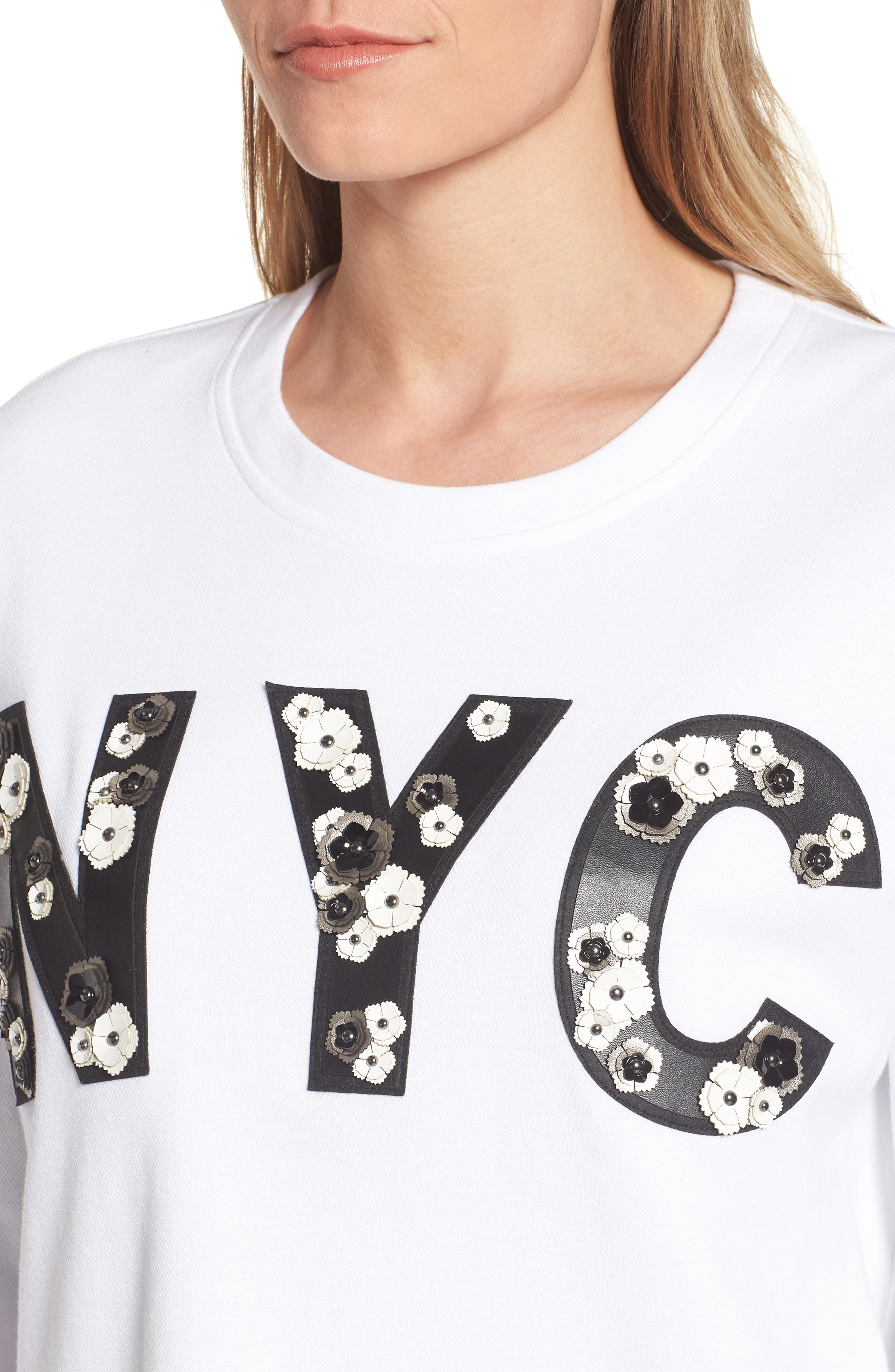 NYC Sweatshirt,                             Alternate thumbnail 4, color,                             White