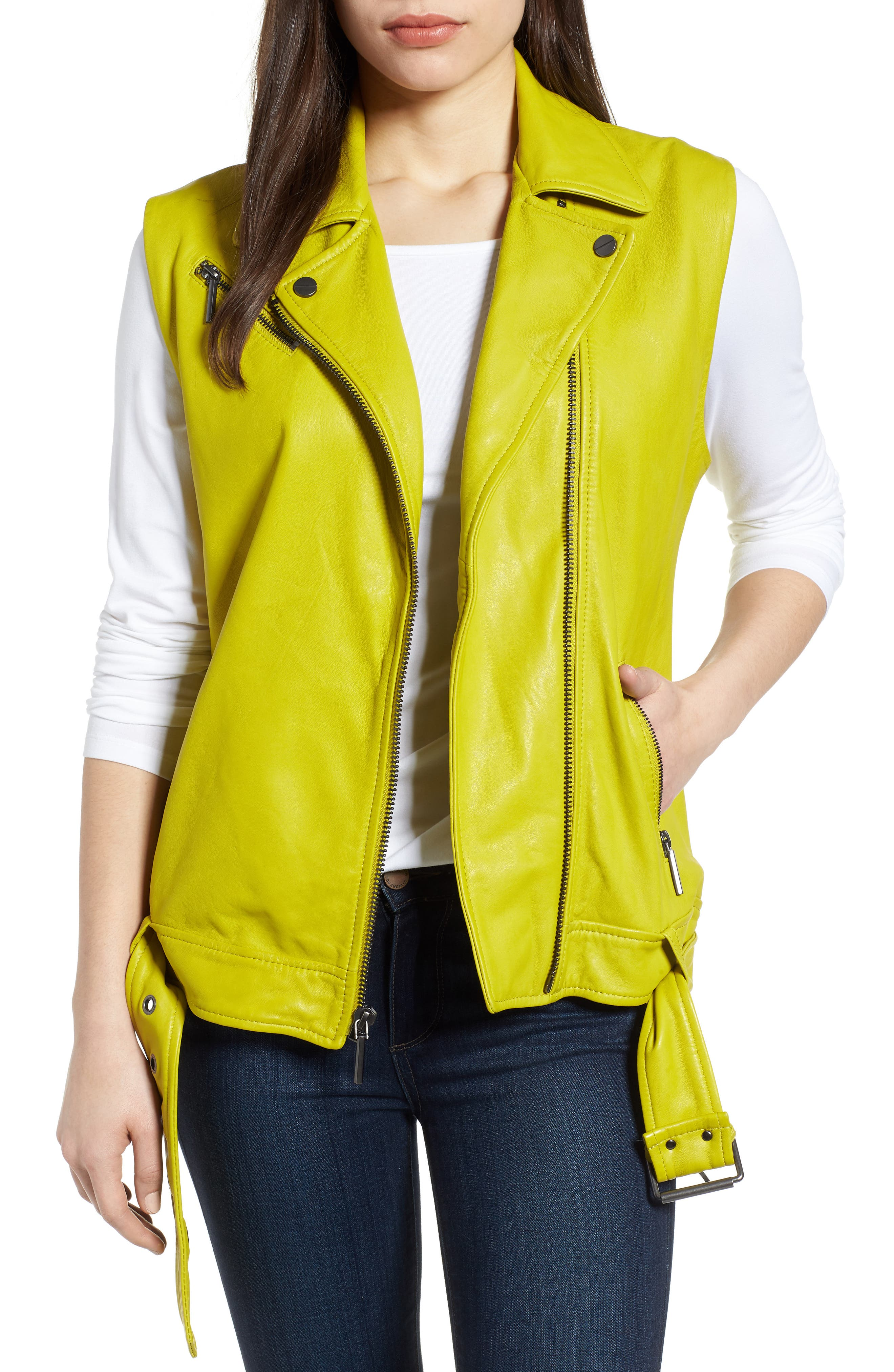 Washed Green Leather Moto Vest,                         Main,                         color, Canary