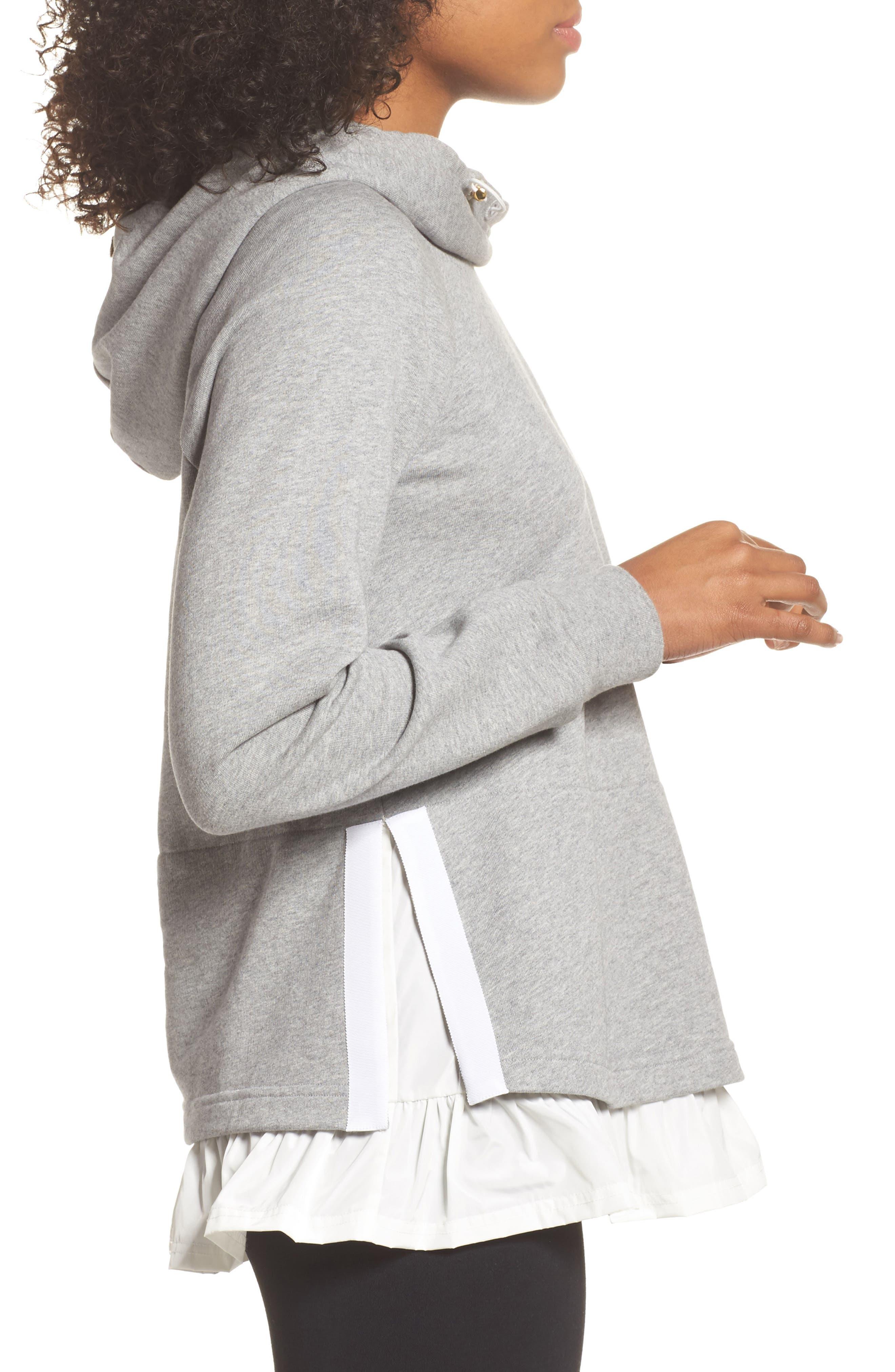 ruffle hoodie sweatshirt,                             Alternate thumbnail 3, color,                             Flint Heather