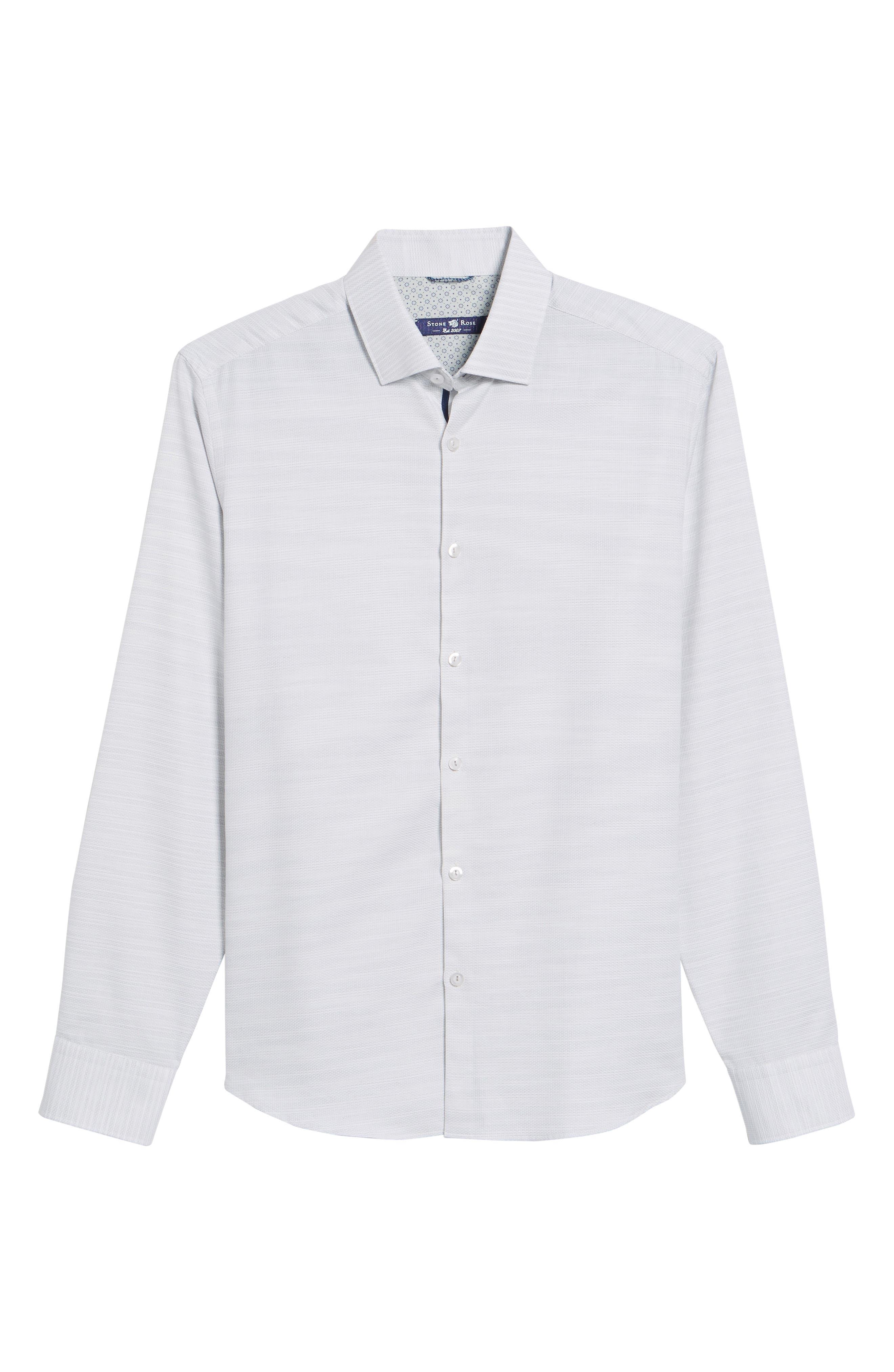 Contemporary Fit Mélange Texture Sport Shirt,                             Alternate thumbnail 6, color,                             Sand